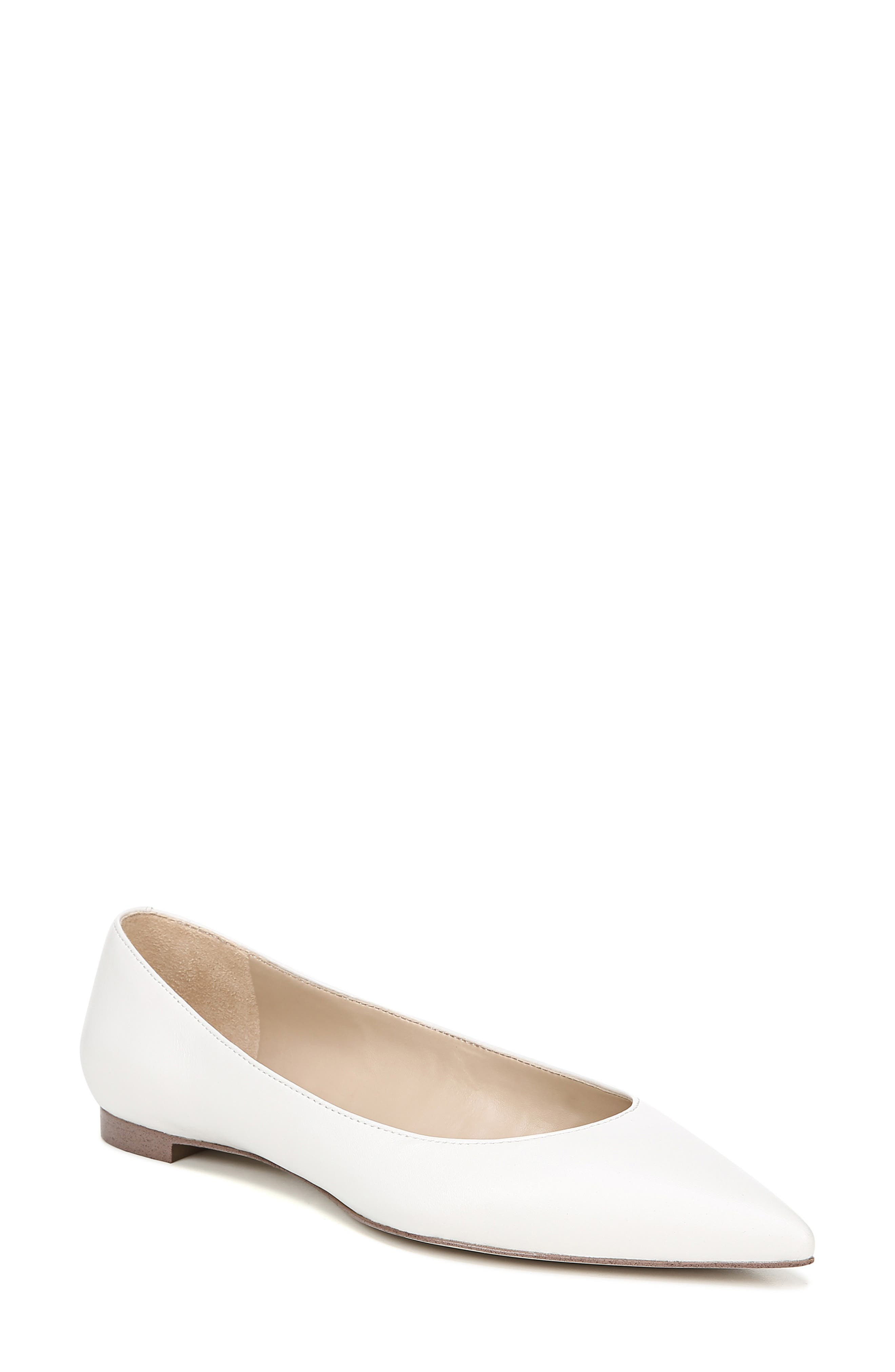 SAM EDELMAN, Sally Flat, Main thumbnail 1, color, BRIGHT WHITE NAPPA LEATHER
