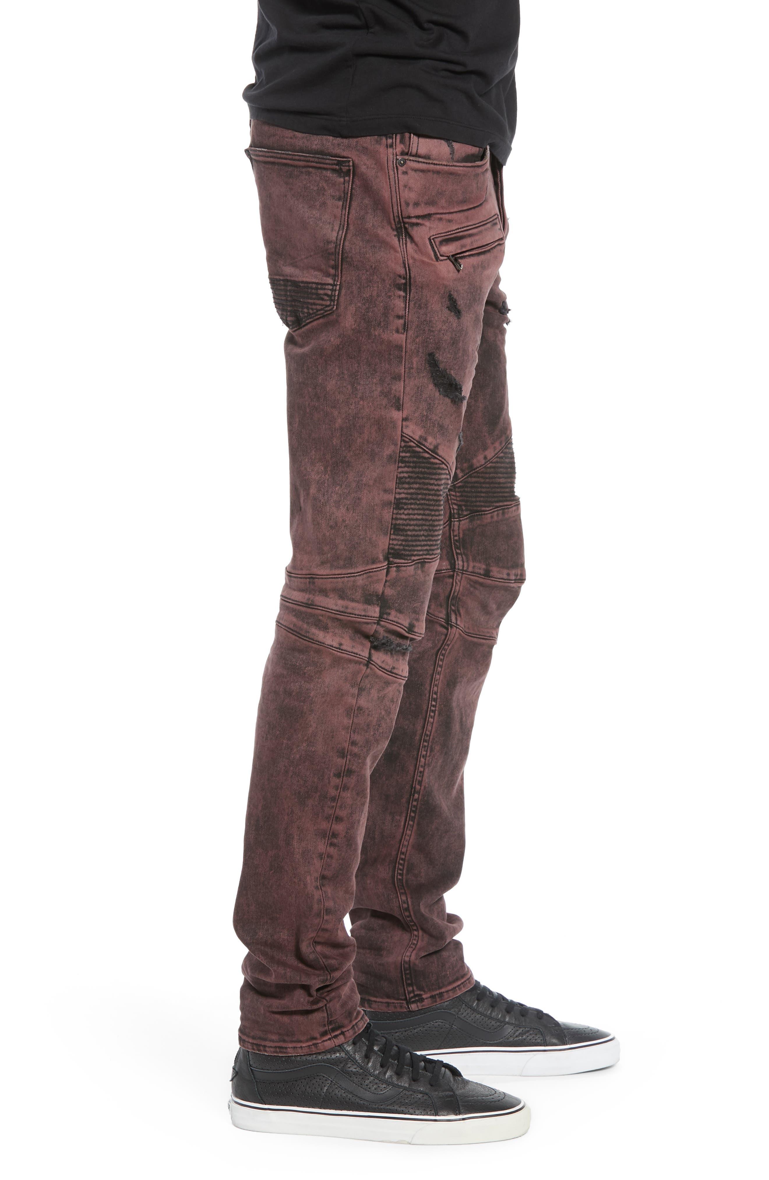 HUDSON JEANS, Blinder Biker Skinny Fit Jeans, Alternate thumbnail 3, color, FADED OX BLOOD