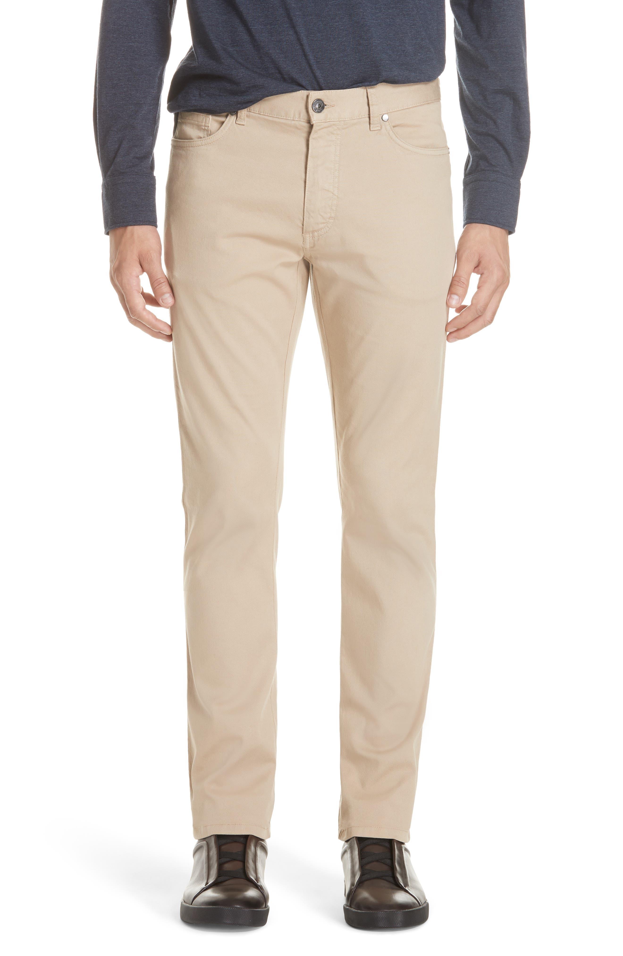 ERMENEGILDO ZEGNA, Stretch Cotton Five Pocket Pants, Main thumbnail 1, color, LIGHT BEIGE