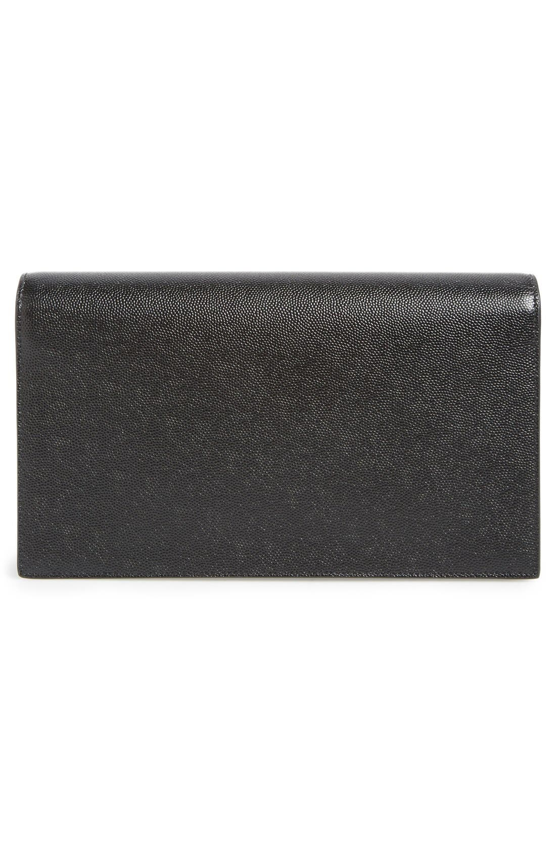 SAINT LAURENT, 'Monogram' Leather Clutch, Alternate thumbnail 5, color, NOIR