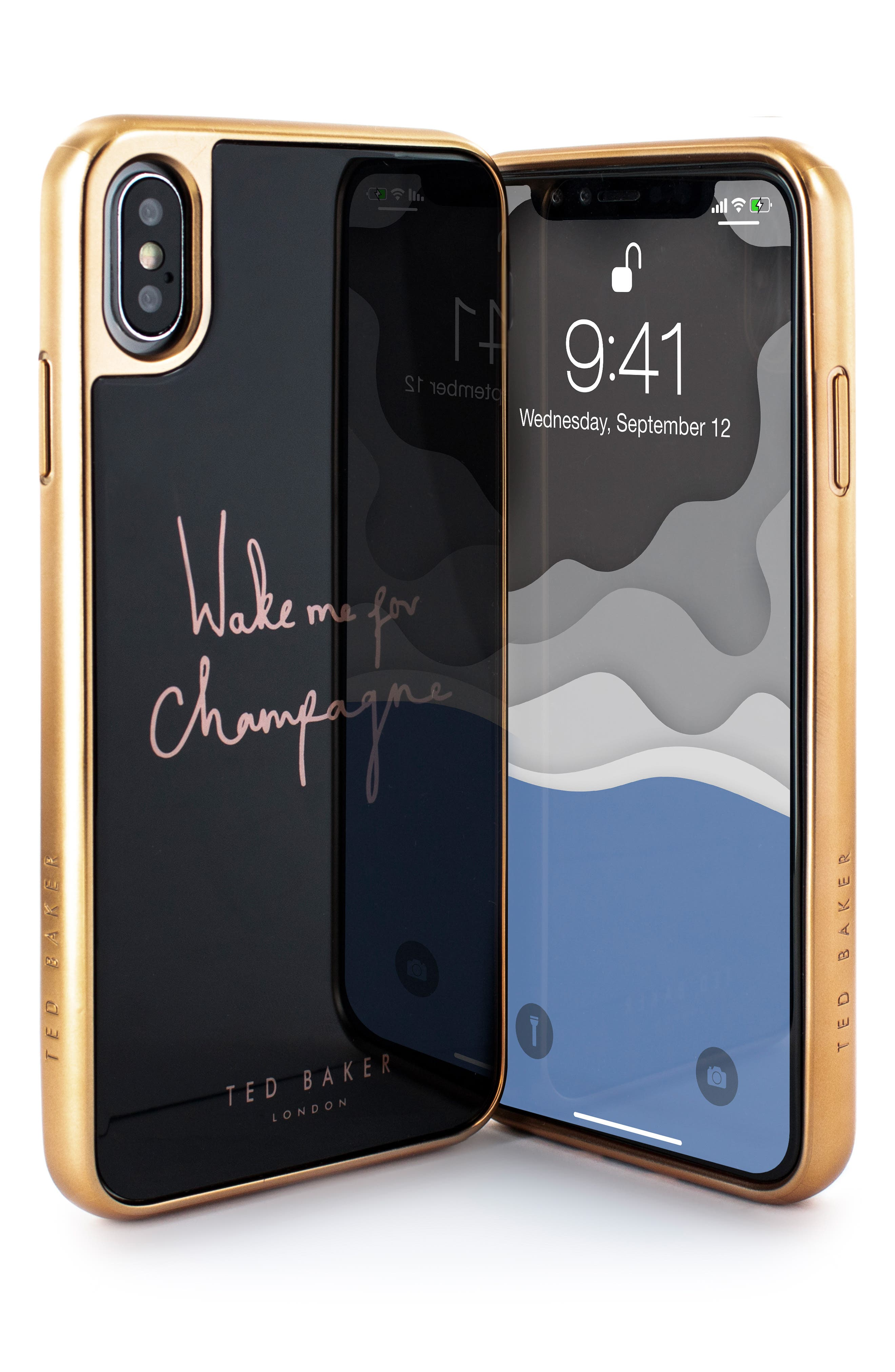 TED BAKER LONDON, Champagne iPhone X/Xs/Xs Max & XR Case, Alternate thumbnail 4, color, BLACK
