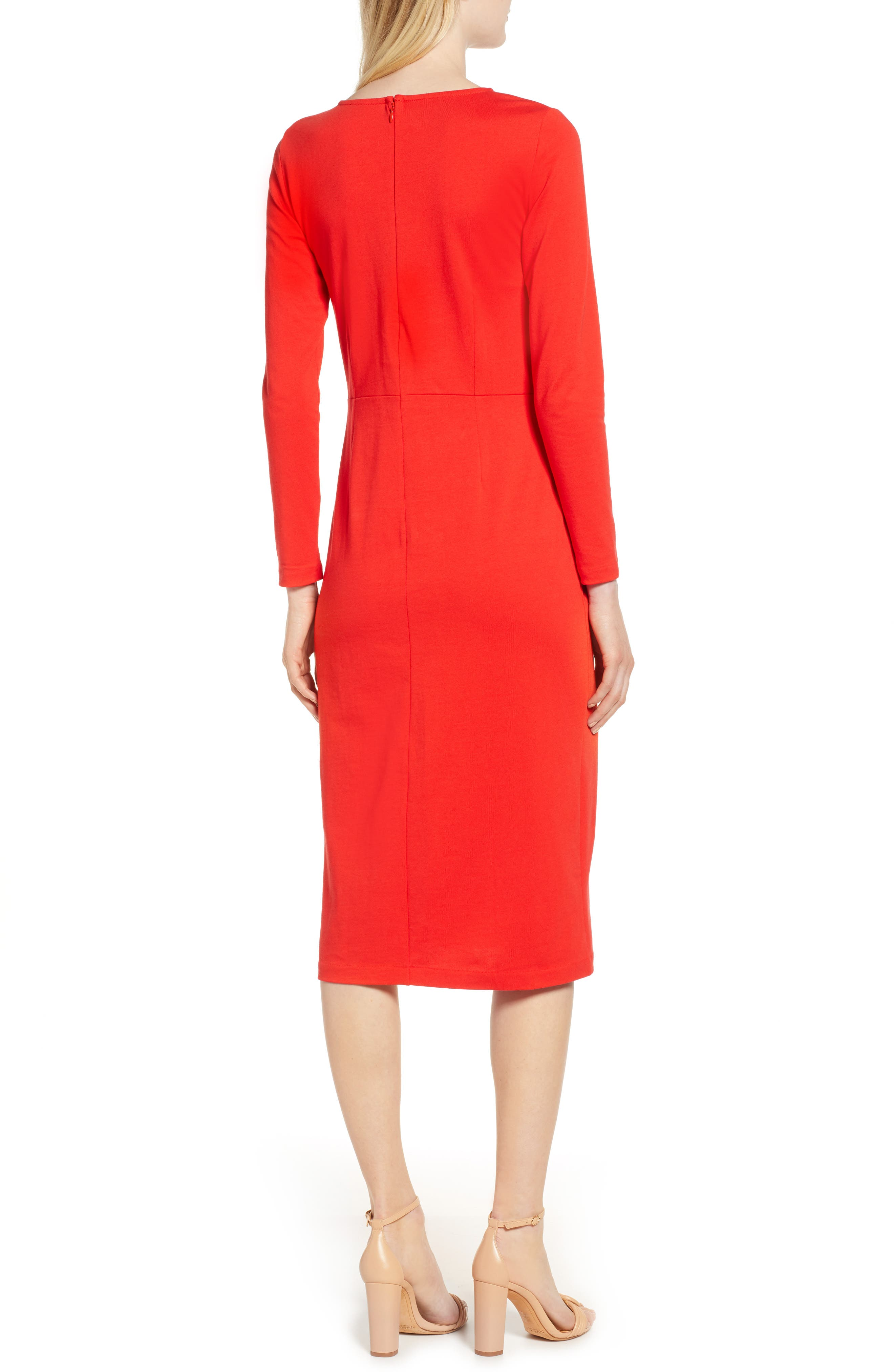 J.CREW, Knit Sheath Dress, Alternate thumbnail 4, color, BRIGHT CERISE