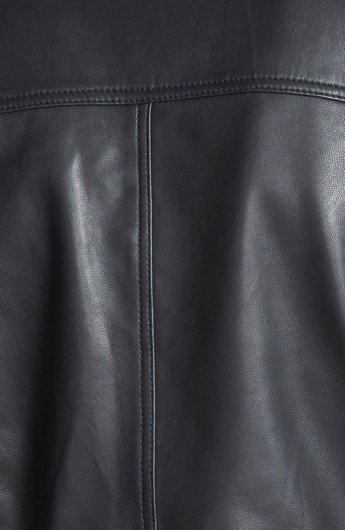 CASLON<SUP>®</SUP>, Drape Collar Leather Jacket, Alternate thumbnail 2, color, 001