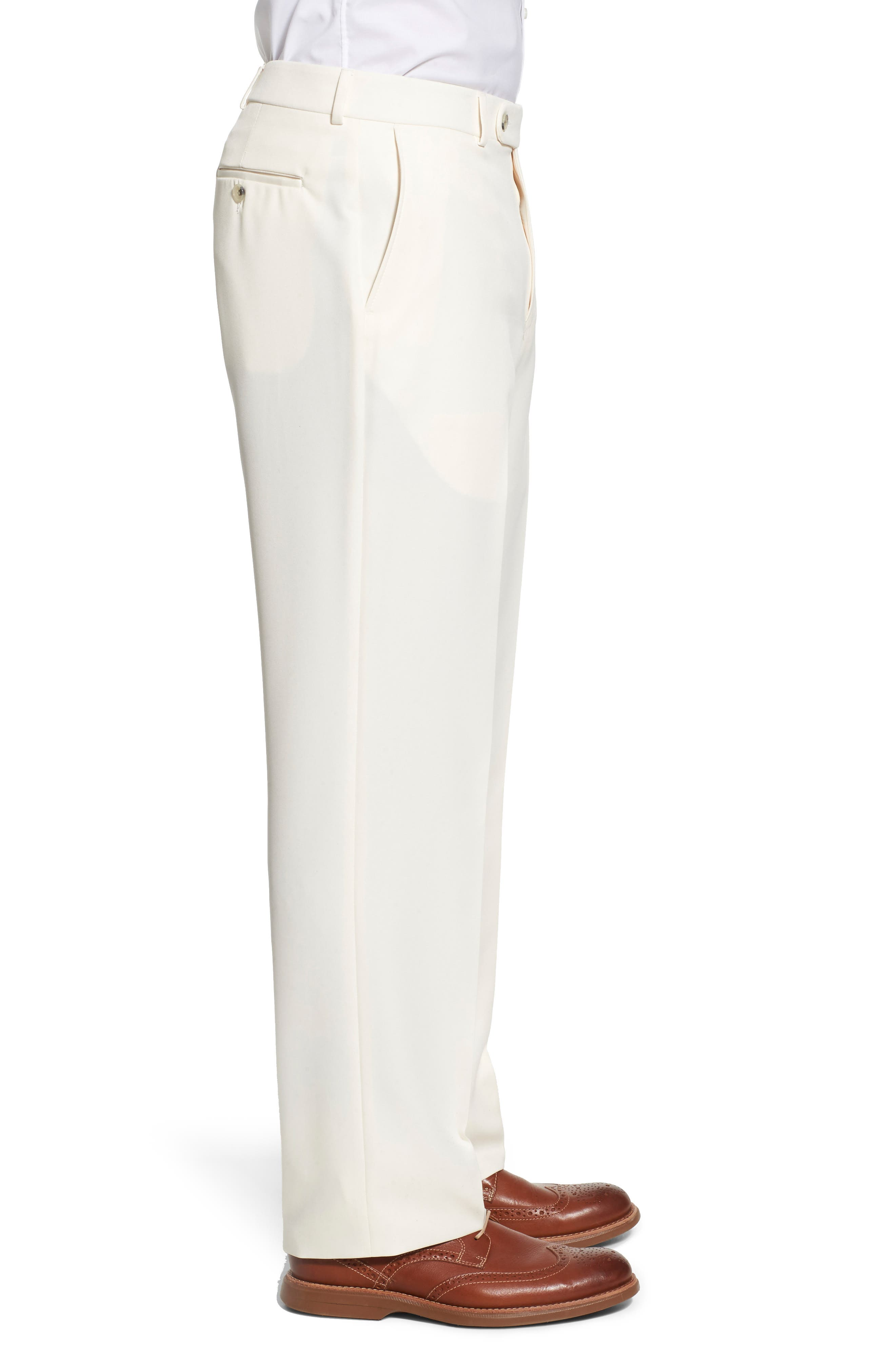 BALLIN, Regular Fit Flat Front Trousers, Alternate thumbnail 4, color, OYSTER