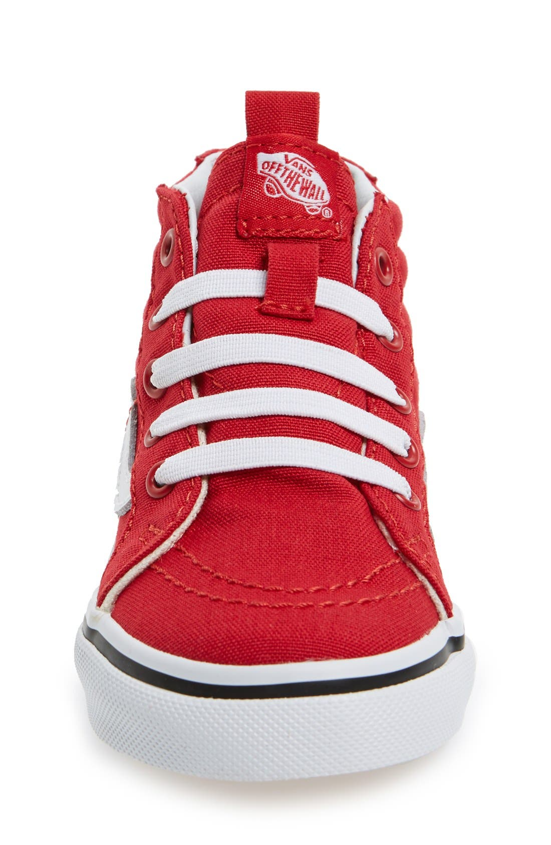 VANS, 'Sk8-Hi' Zip Sneaker, Alternate thumbnail 2, color, RACING RED/TRUE WHITE