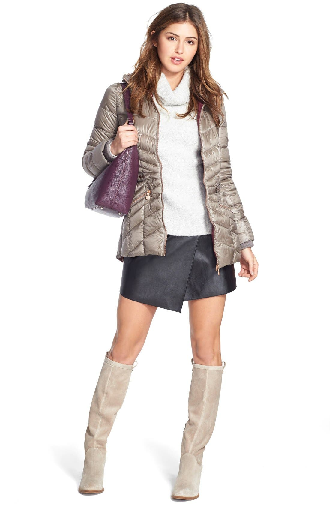 1.STATE, Faux Leather Wrap Skirt, Alternate thumbnail 5, color, 006