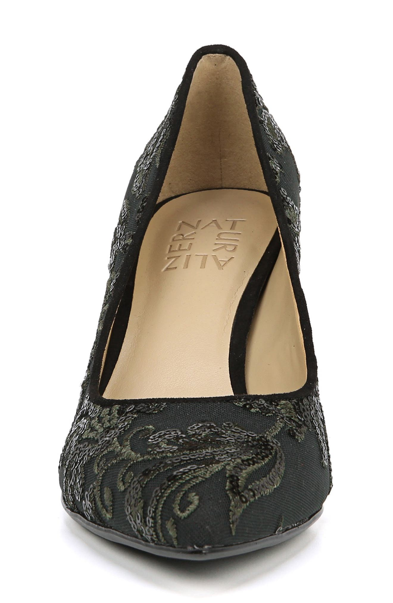 NATURALIZER, Natalie Pointy Toe Pump, Alternate thumbnail 4, color, FERN GREEN EMBROIDERED