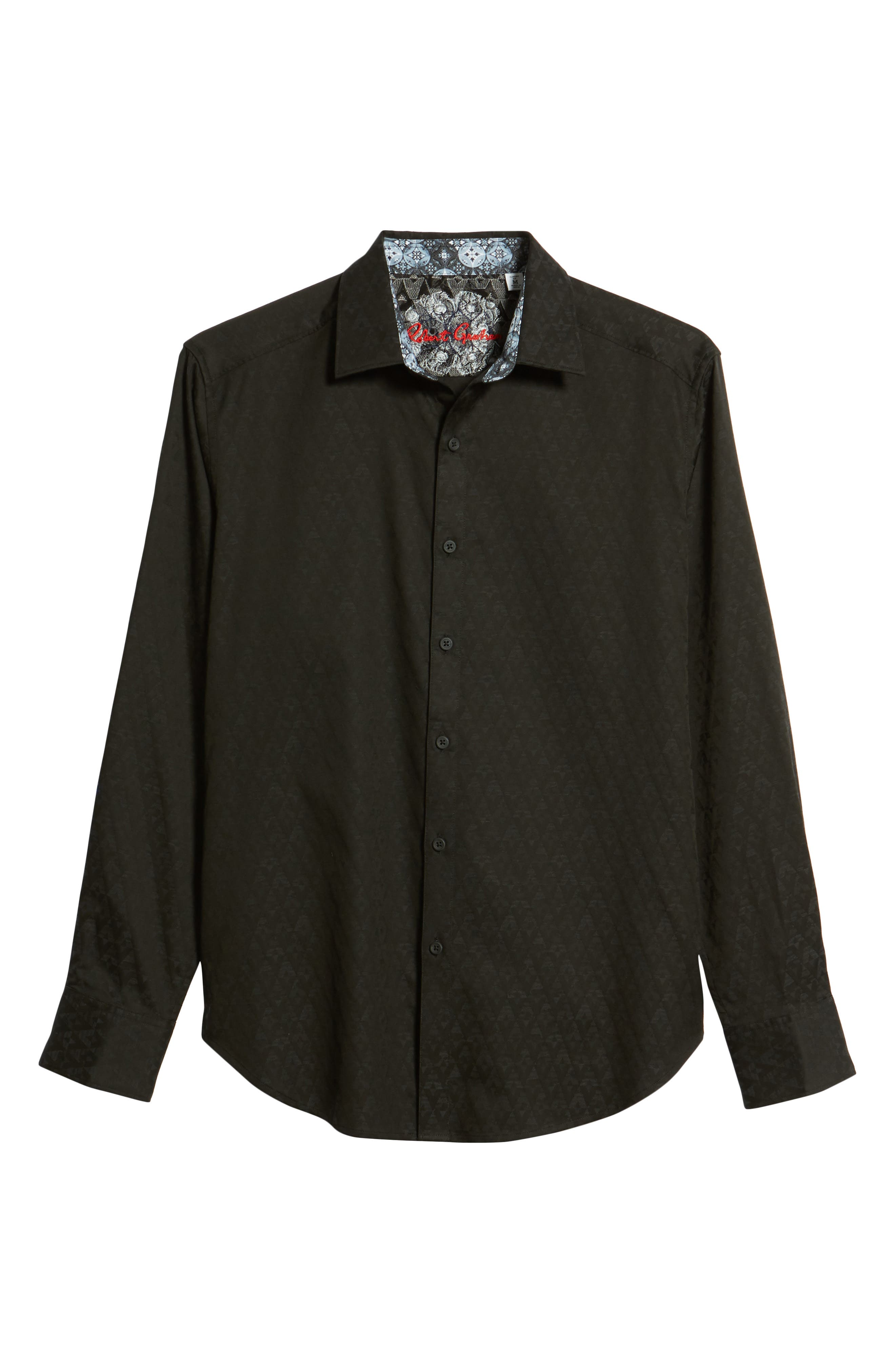 ROBERT GRAHAM, Classic Fit Stretch Geometric Sport Shirt, Alternate thumbnail 6, color, BLACK