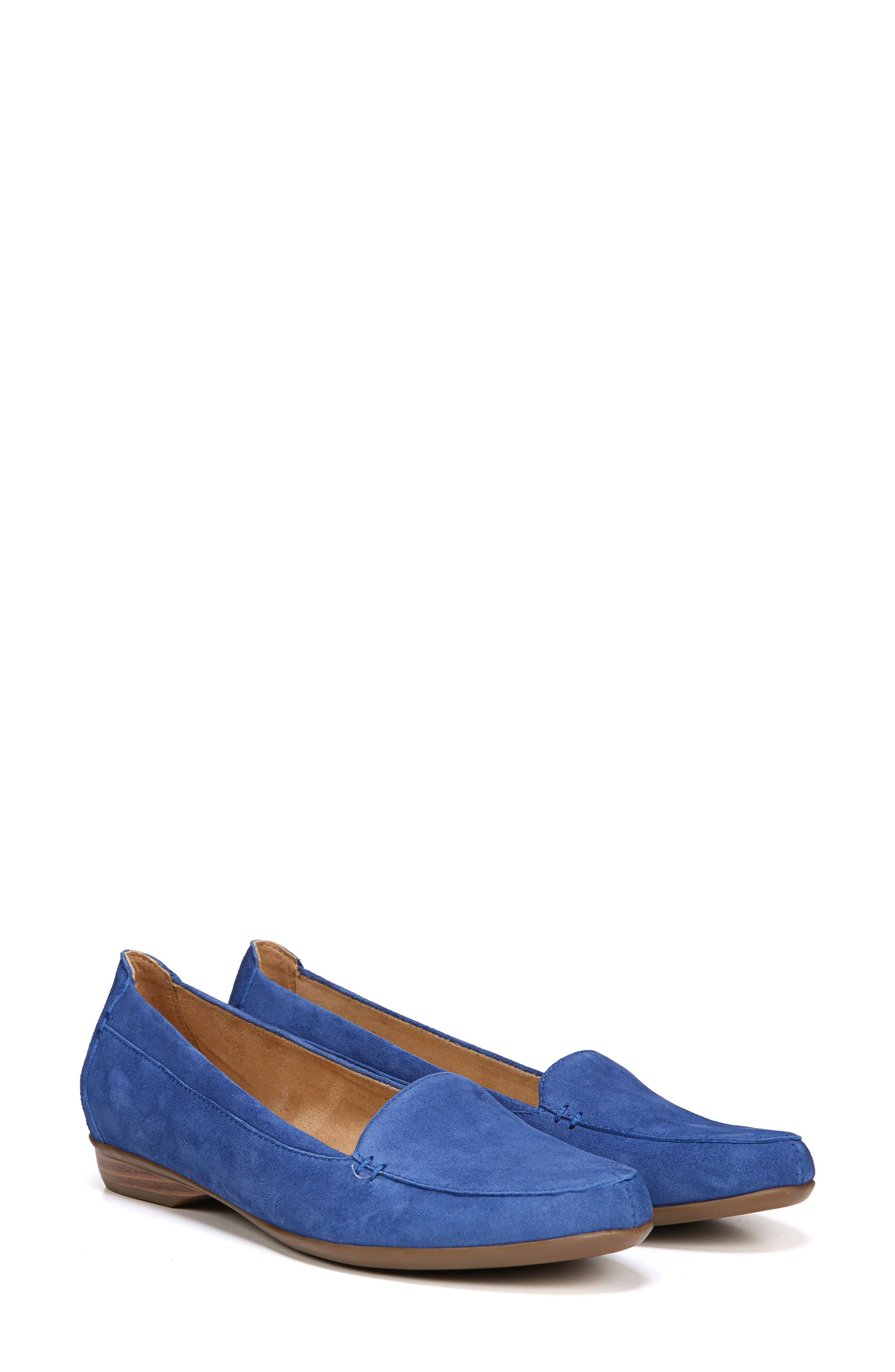 NATURALIZER, 'Saban' Leather Loafer, Alternate thumbnail 7, color, FRENCH BLUE SUEDE