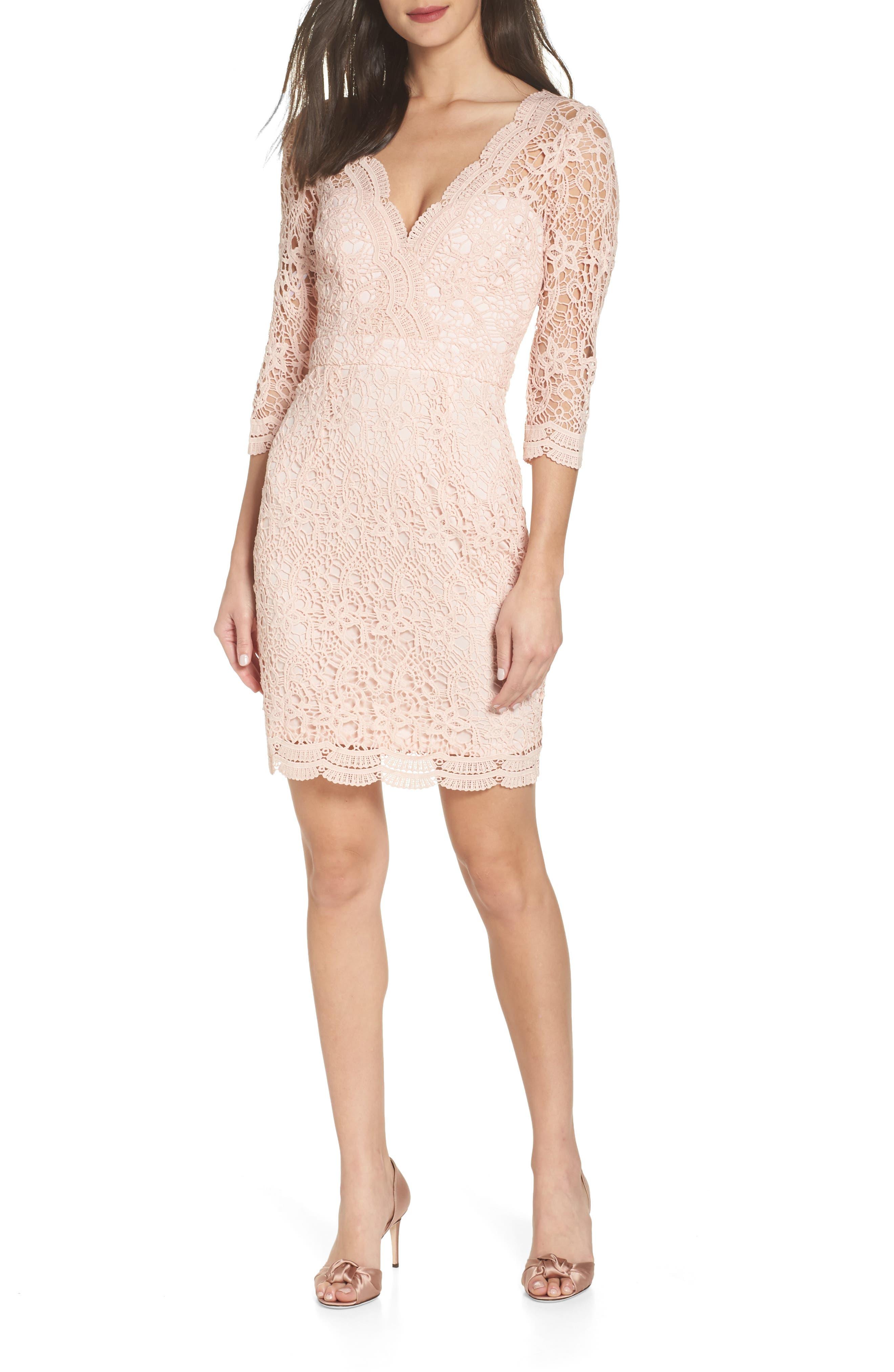 LULUS Lace Cocktail Dress, Main, color, BLUSH