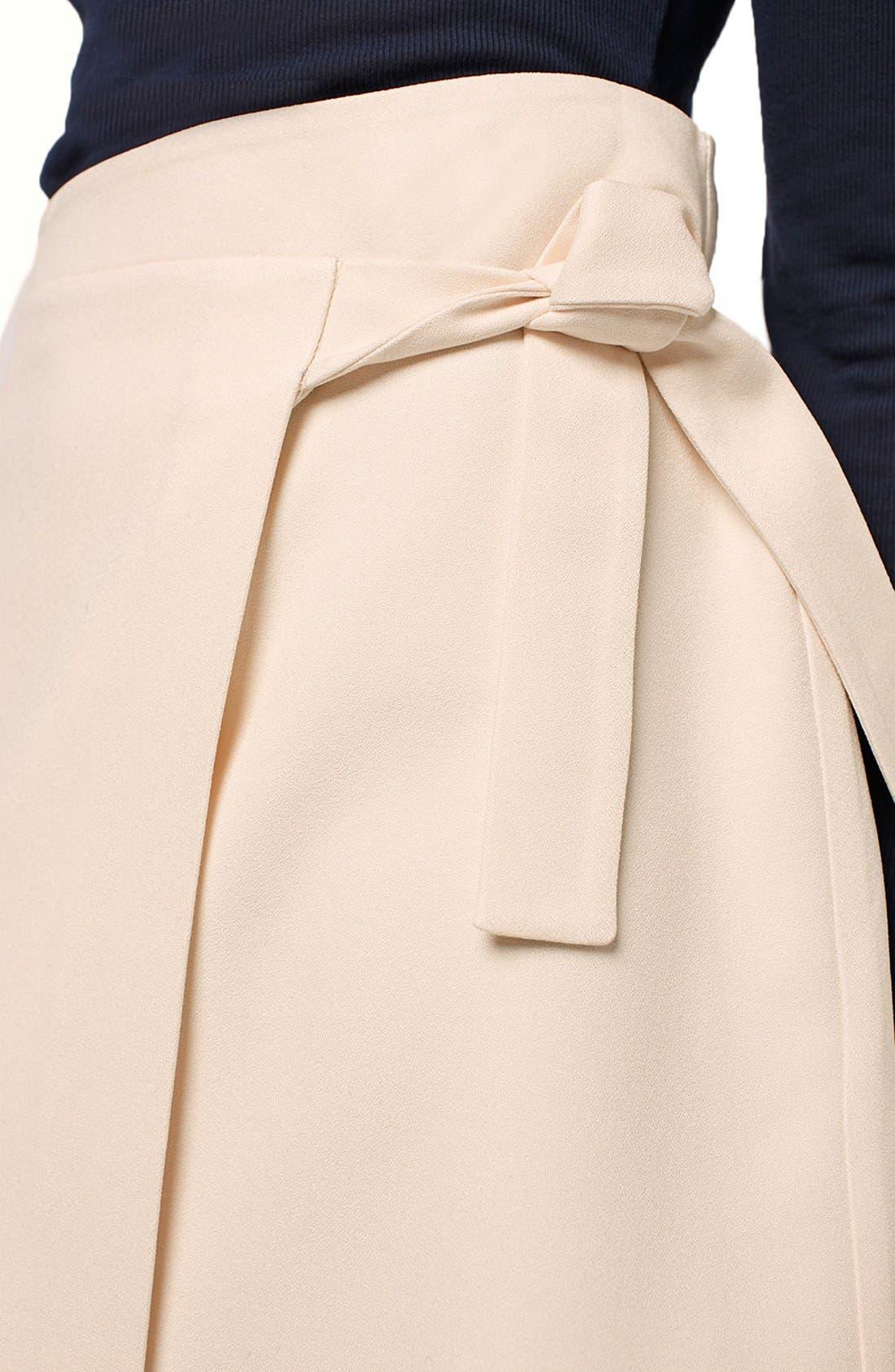 TOPSHOP, Faux Wrap Miniskirt, Alternate thumbnail 3, color, 900