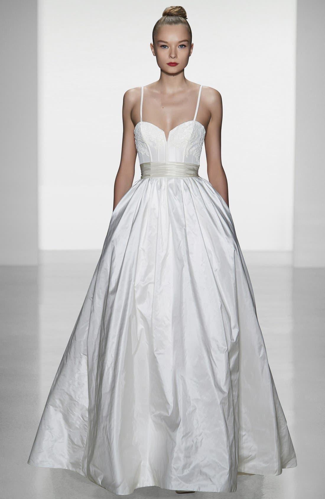 AMSALE, Cameron Lace Appliqué Corset Bodice Silk Taffeta Dress, Main thumbnail 1, color, 900