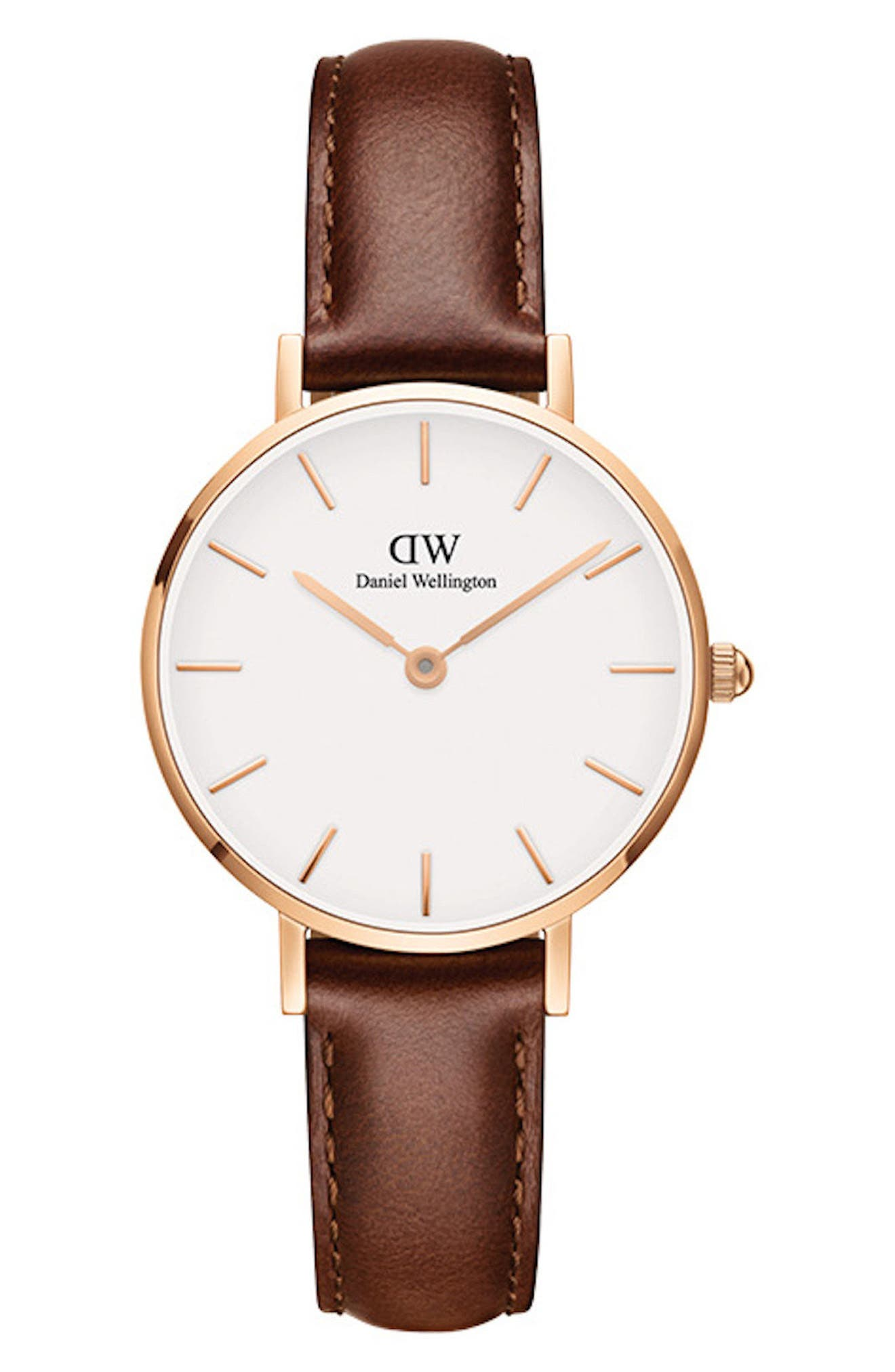 DANIEL WELLINGTON Classic Petite Leather Strap Watch, 28mm, Main, color, BROWN/ WHITE/ ROSE GOLD