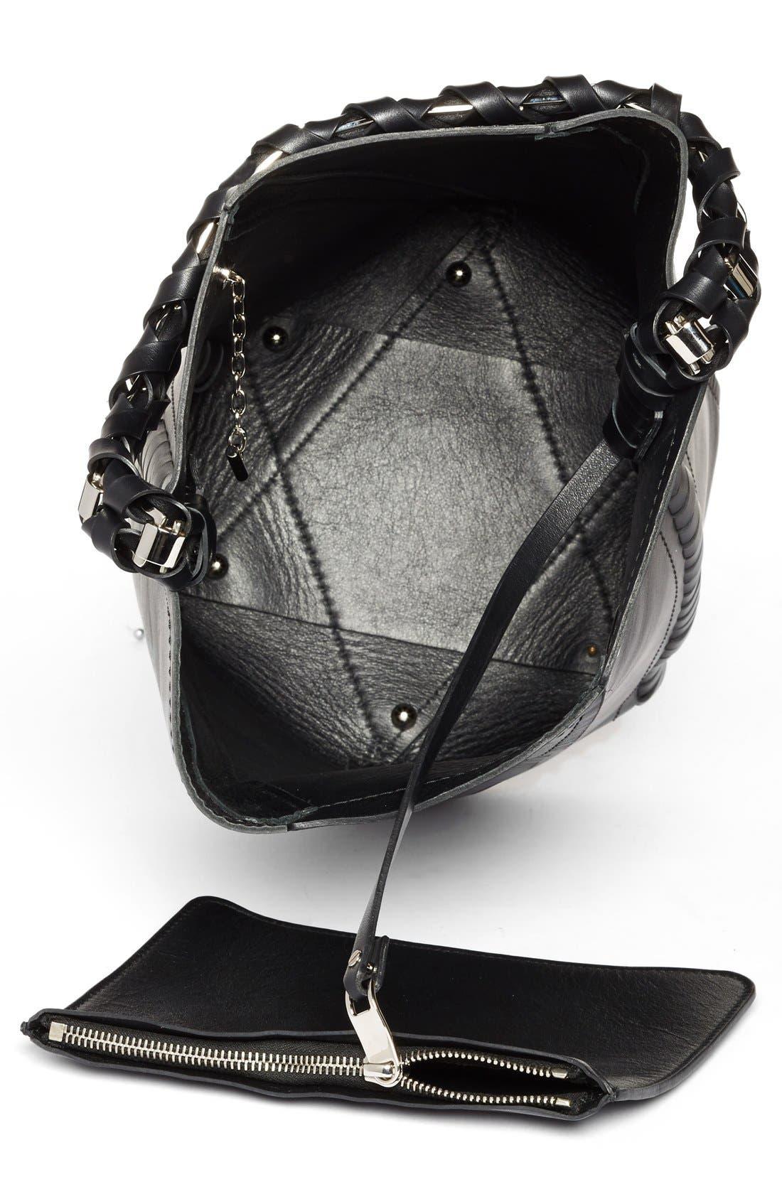 PROENZA SCHOULER, 'Medium Hex' Whipstitch Leather Bucket Bag, Alternate thumbnail 4, color, BLACK