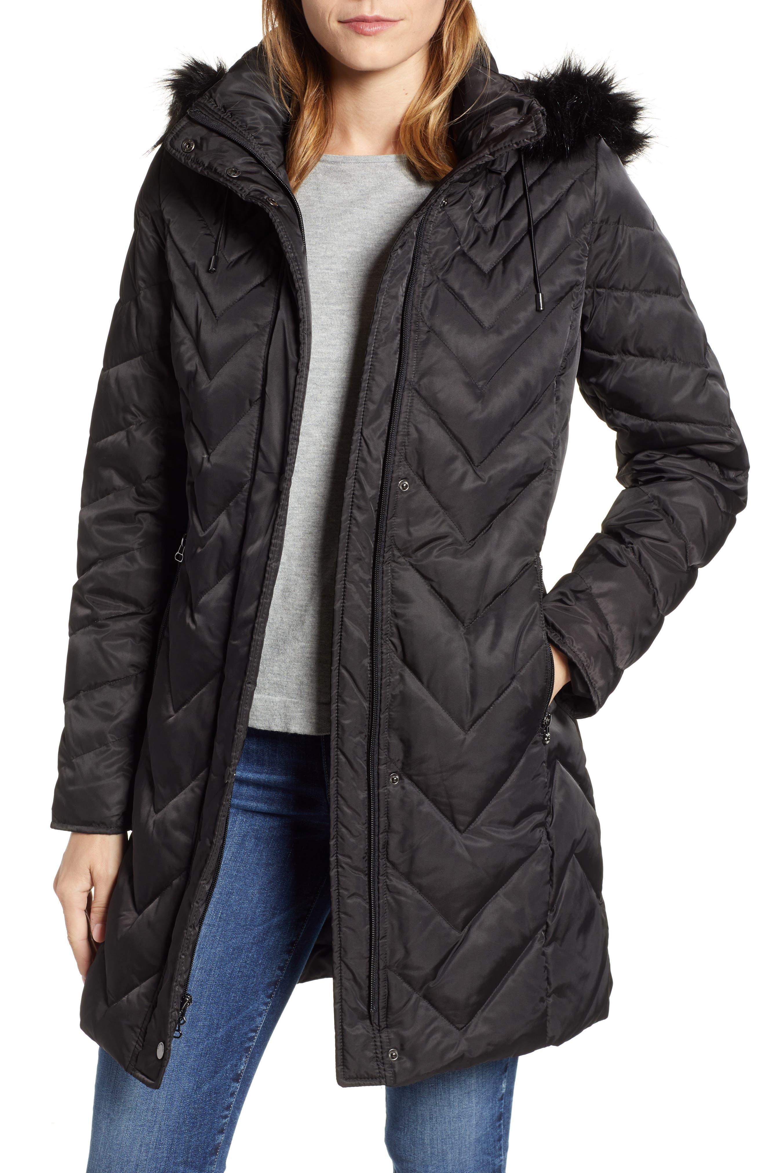 MARC NEW YORK, Matte Satin Chevron Faux Fur Trim Coat, Main thumbnail 1, color, BLACK