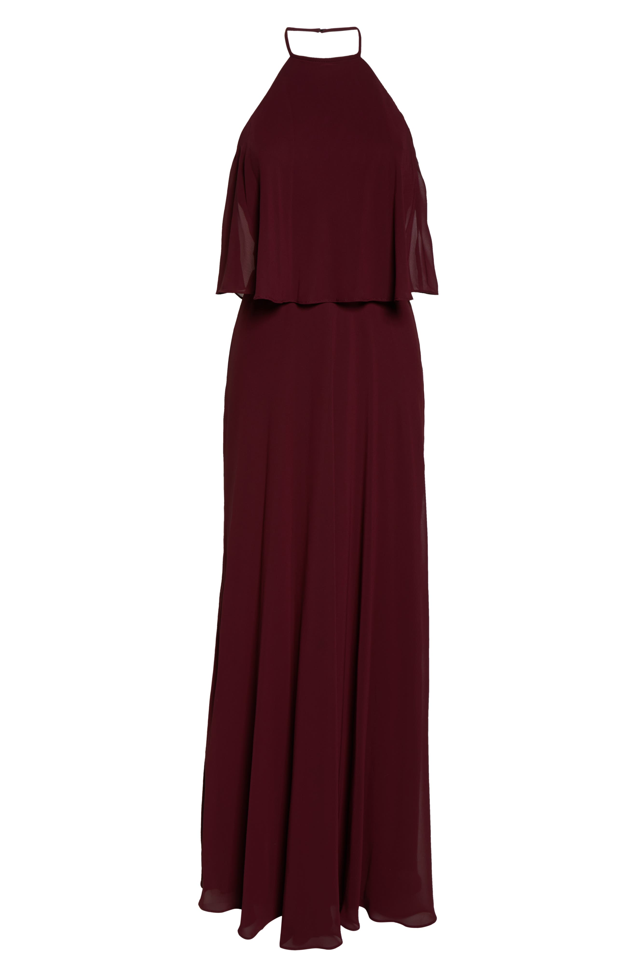 #LEVKOFF, Halter Overlay Chiffon Gown, Alternate thumbnail 5, color, WINE