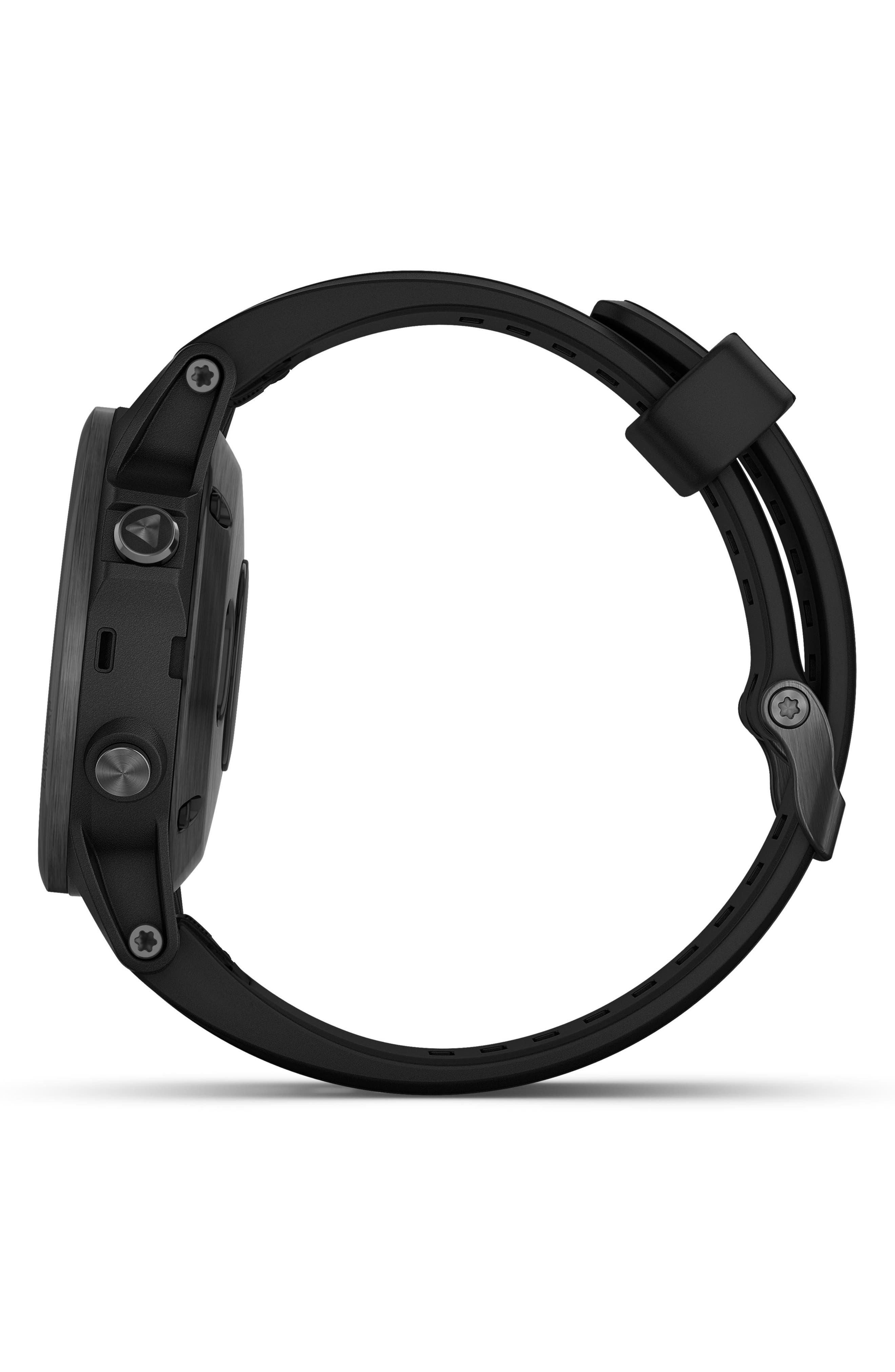 GARMIN, fenix<sup>®</sup> 5S Plus Sapphire Premium Multisport GPS Watch, 42mm, Alternate thumbnail 5, color, BLACK