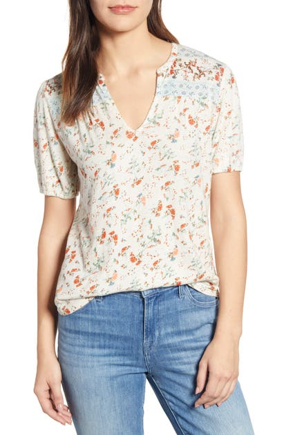 Lucky Brand Tops FLORAL PEASANT TOP