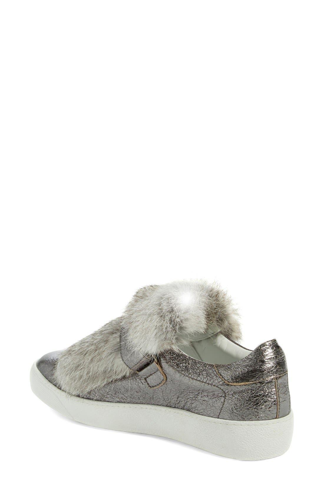 MONCLER, 'Lucie Scarpa' Genuine Rabbit Fur Trim Sneaker, Alternate thumbnail 6, color, 020
