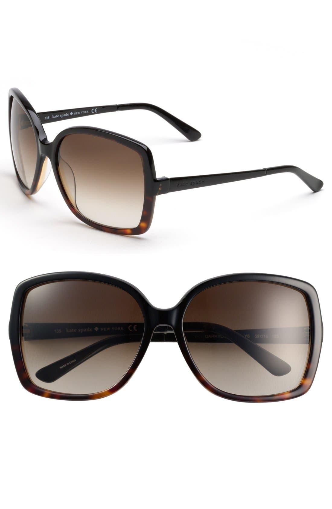 KATE SPADE NEW YORK, 'darryl' 59mm oversized sunglasses, Main thumbnail 1, color, 001