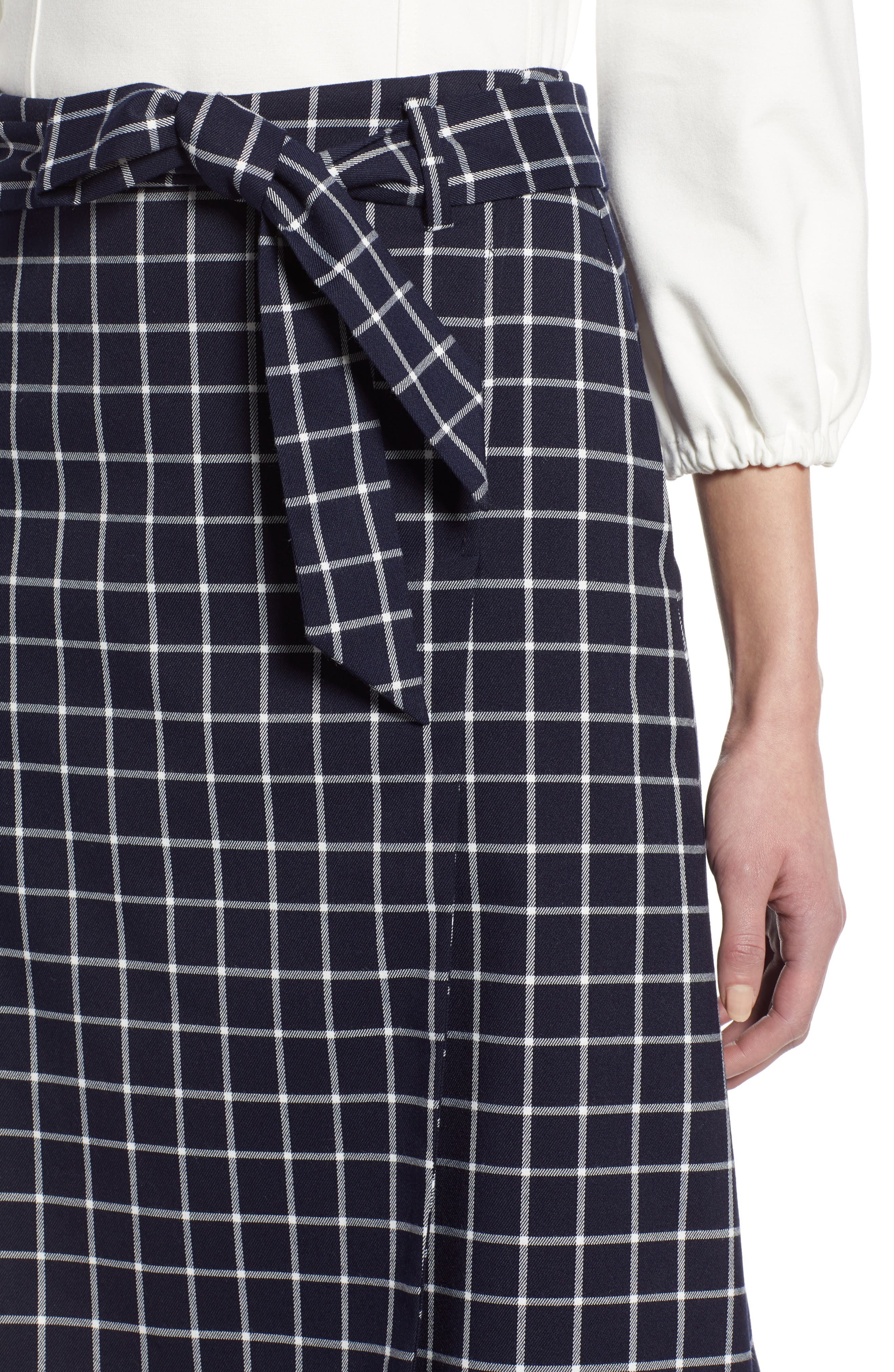 HALOGEN<SUP>®</SUP>, Tie Waist Check Skirt, Alternate thumbnail 4, color, NAVY CHECK