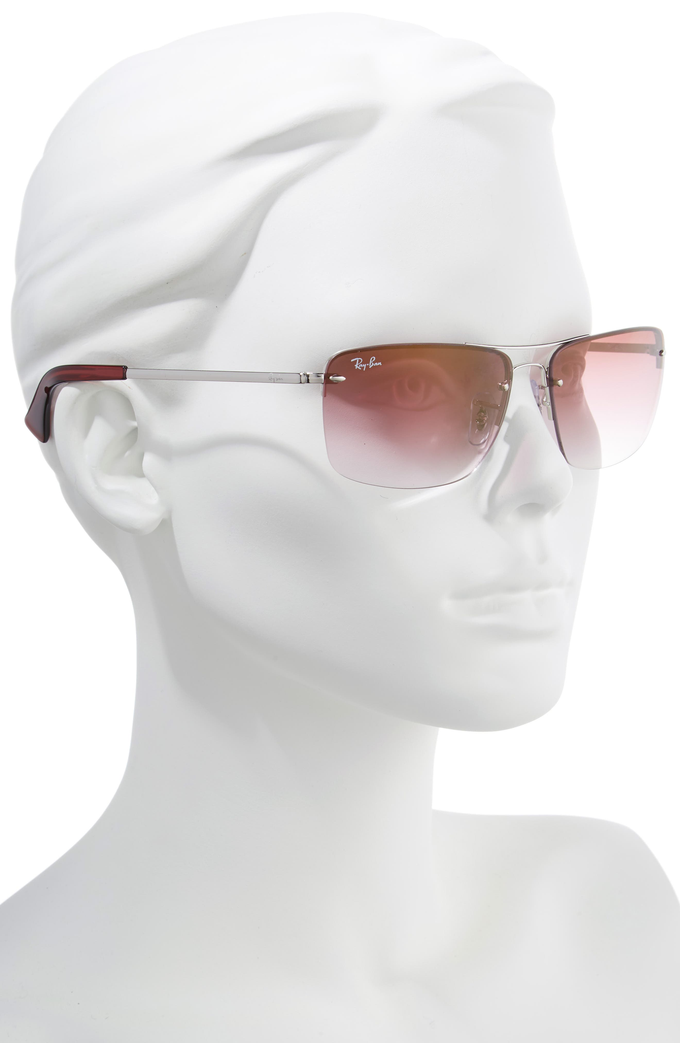 RAY-BAN, 61mm Rimless Navigator Sunglasses, Alternate thumbnail 2, color, SILVER/ BORDEAUX GRADIENT