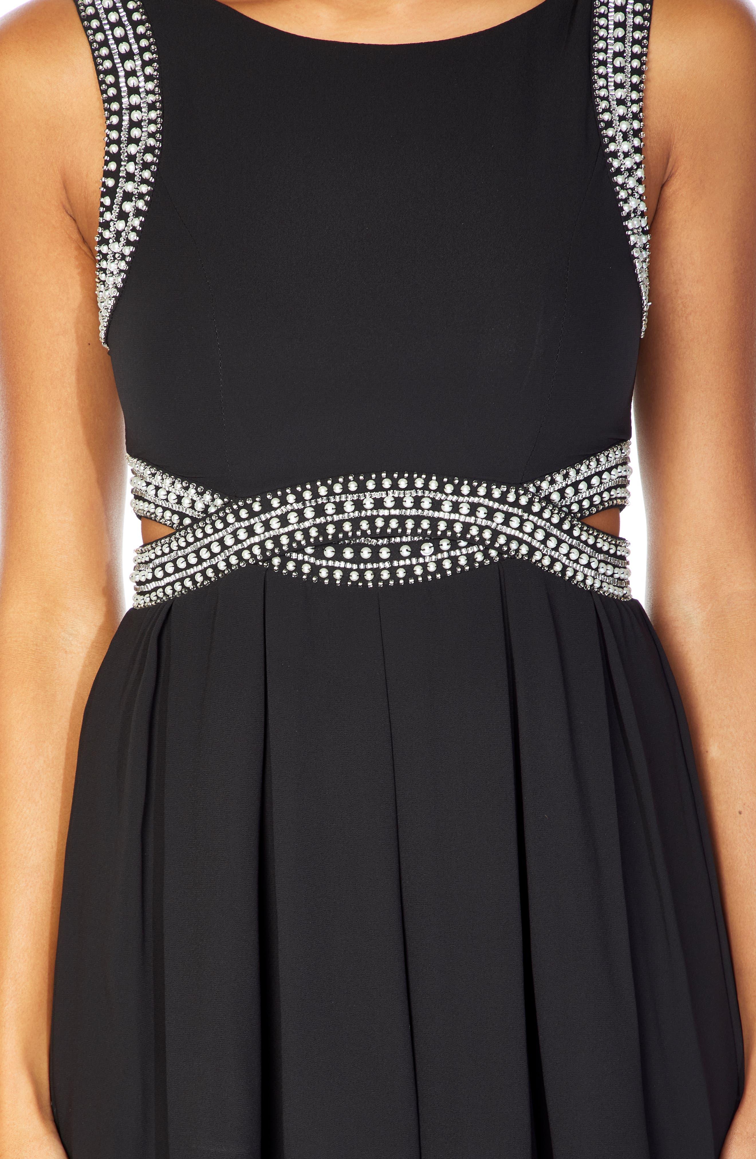 TFNC, Malaga Beaded Minidress, Alternate thumbnail 3, color, BLACK