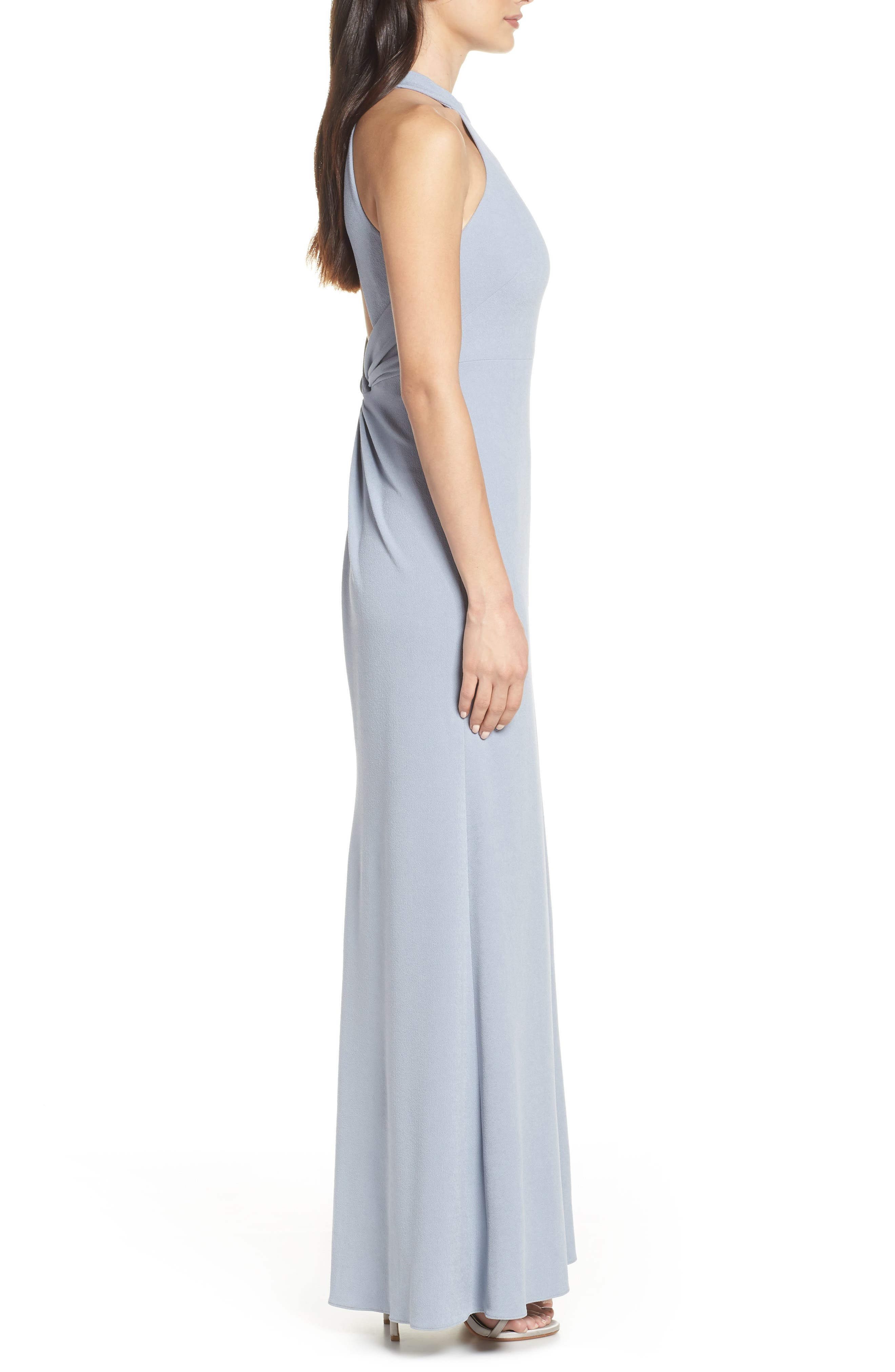 AFTER SIX, Halter Neck Stretch Crepe Evening Dress, Alternate thumbnail 4, color, PLATINUM