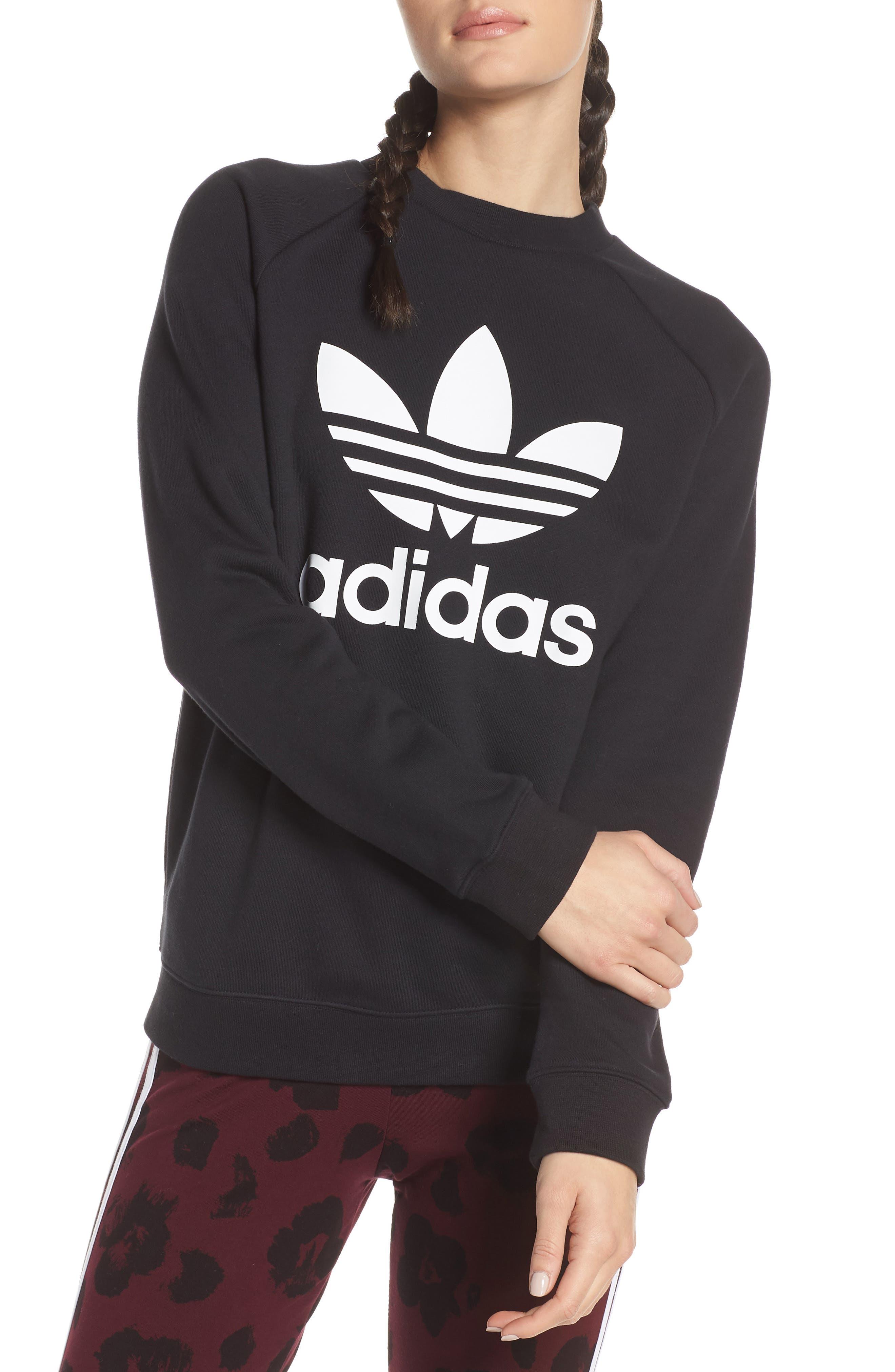 ADIDAS ORIGINALS, Trefoil Sweatshirt, Main thumbnail 1, color, 001