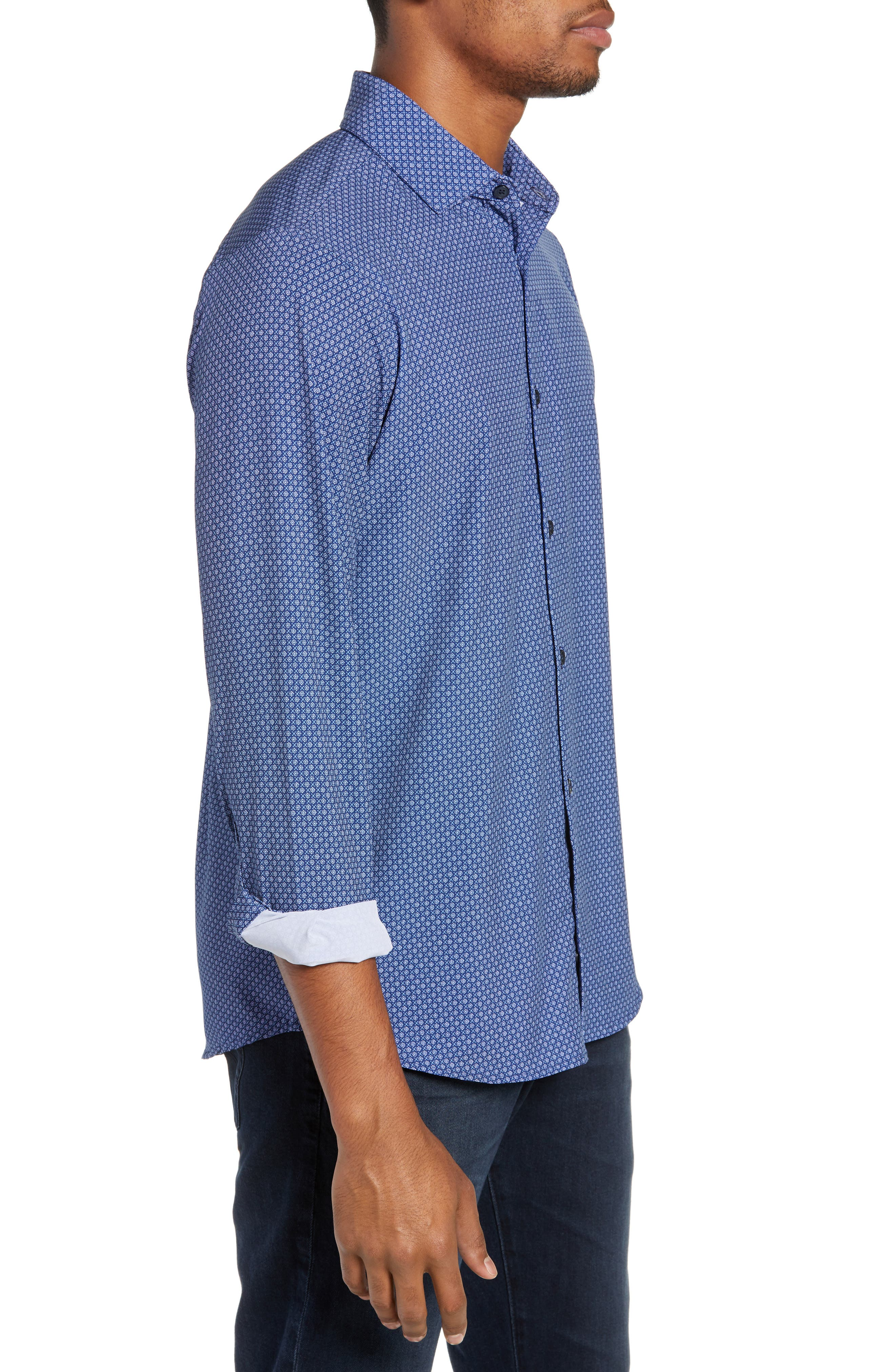 MIZZEN+MAIN, Atlantic Daisy Performance Sport Shirt, Alternate thumbnail 4, color, NAVY