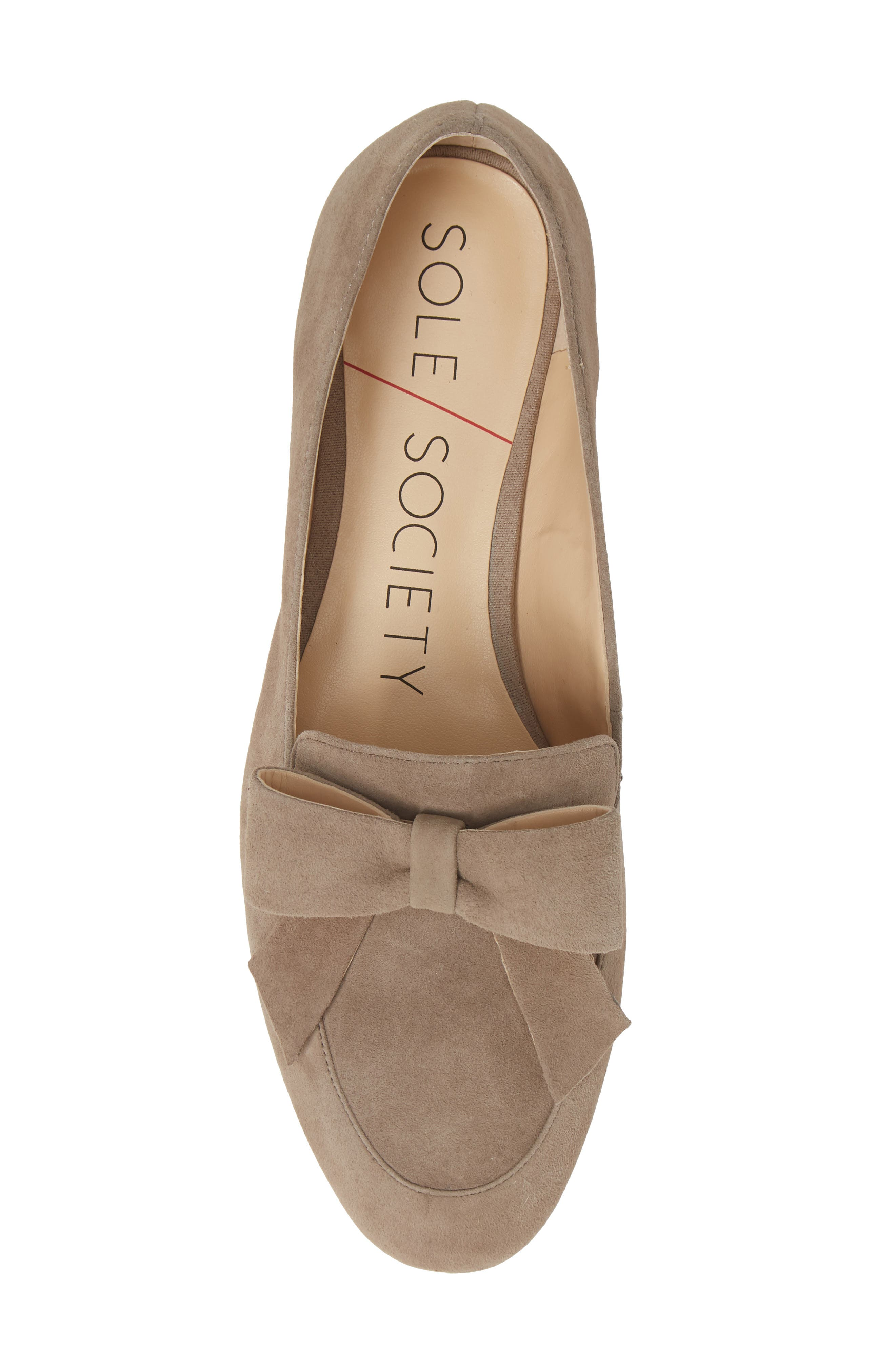SOLE SOCIETY, Tannse Bow Loafer, Alternate thumbnail 5, color, MUSHROOM SUEDE