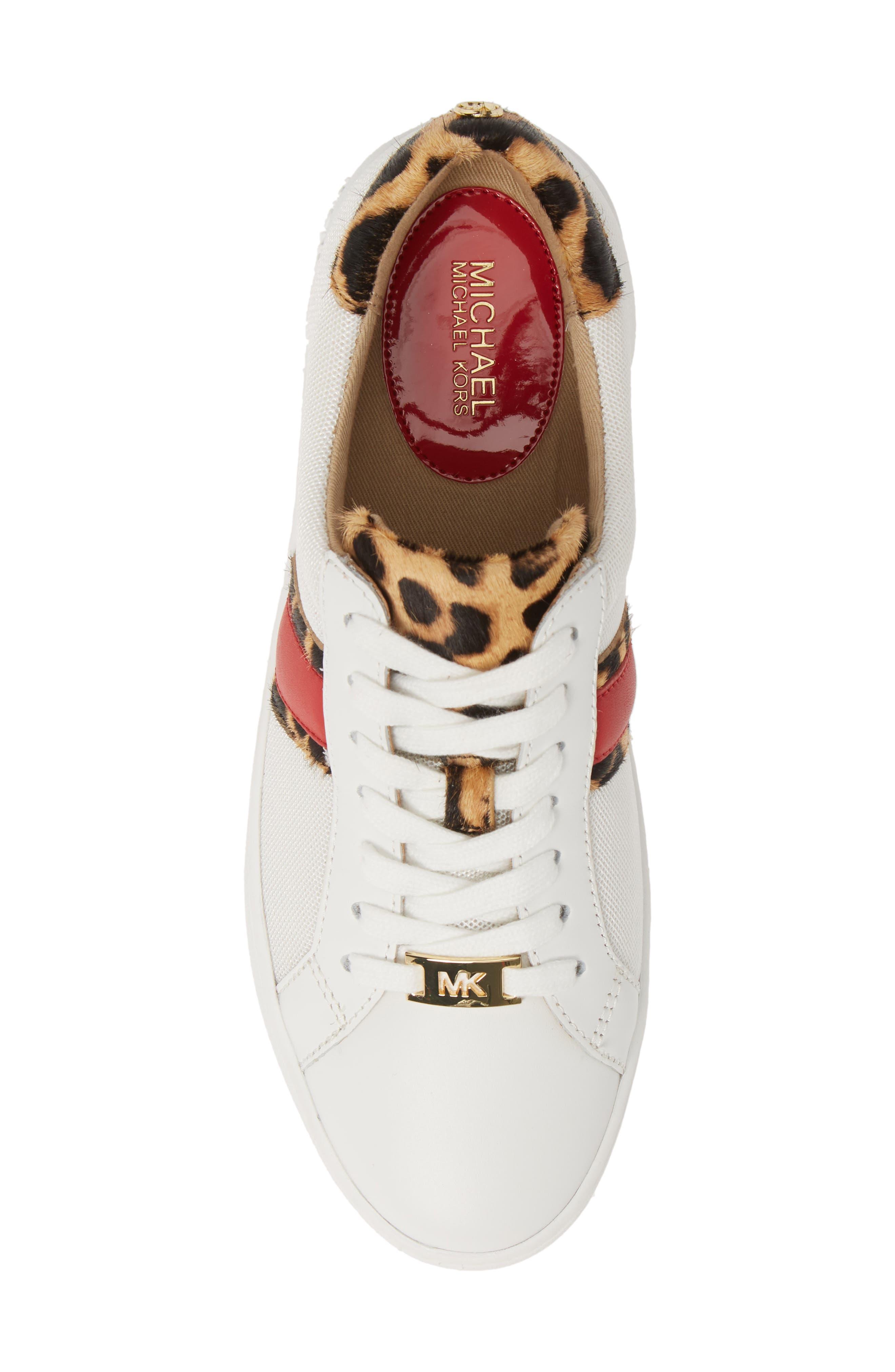 MICHAEL MICHAEL KORS, Irving Stripe Sneaker, Alternate thumbnail 5, color, OPTIC WHITE/ NATURAL