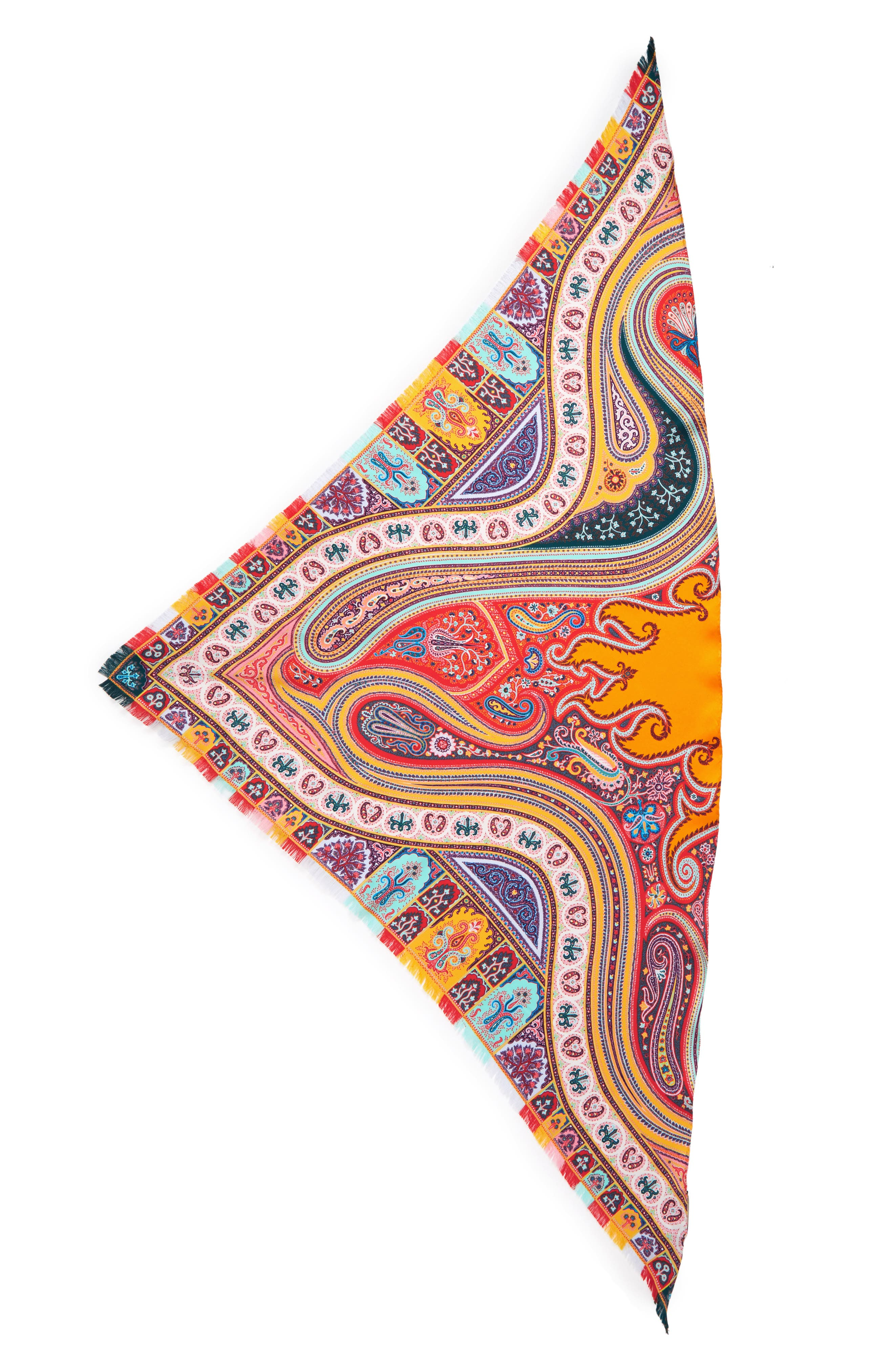 ETRO, Silk Triangle Scarf, Main thumbnail 1, color, ORANGE