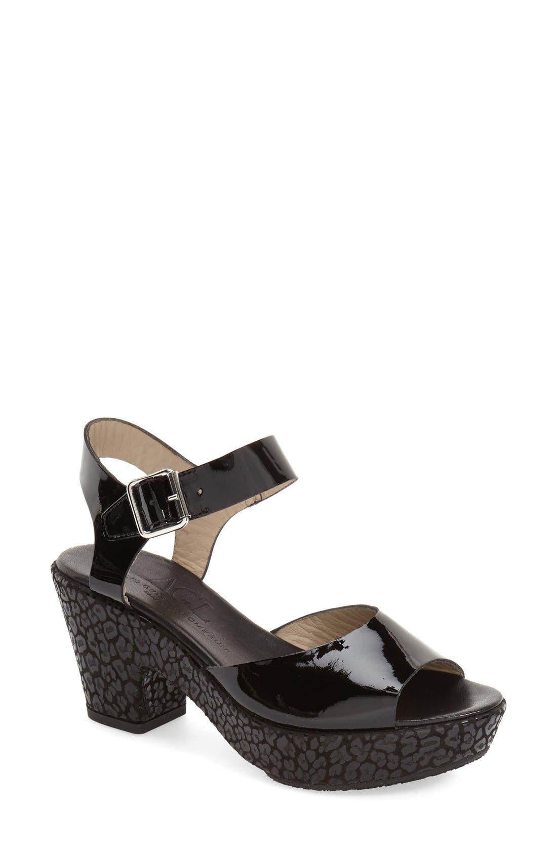 AGL, 'Sylvia' Platform Wedge Sandal, Main thumbnail 1, color, 001