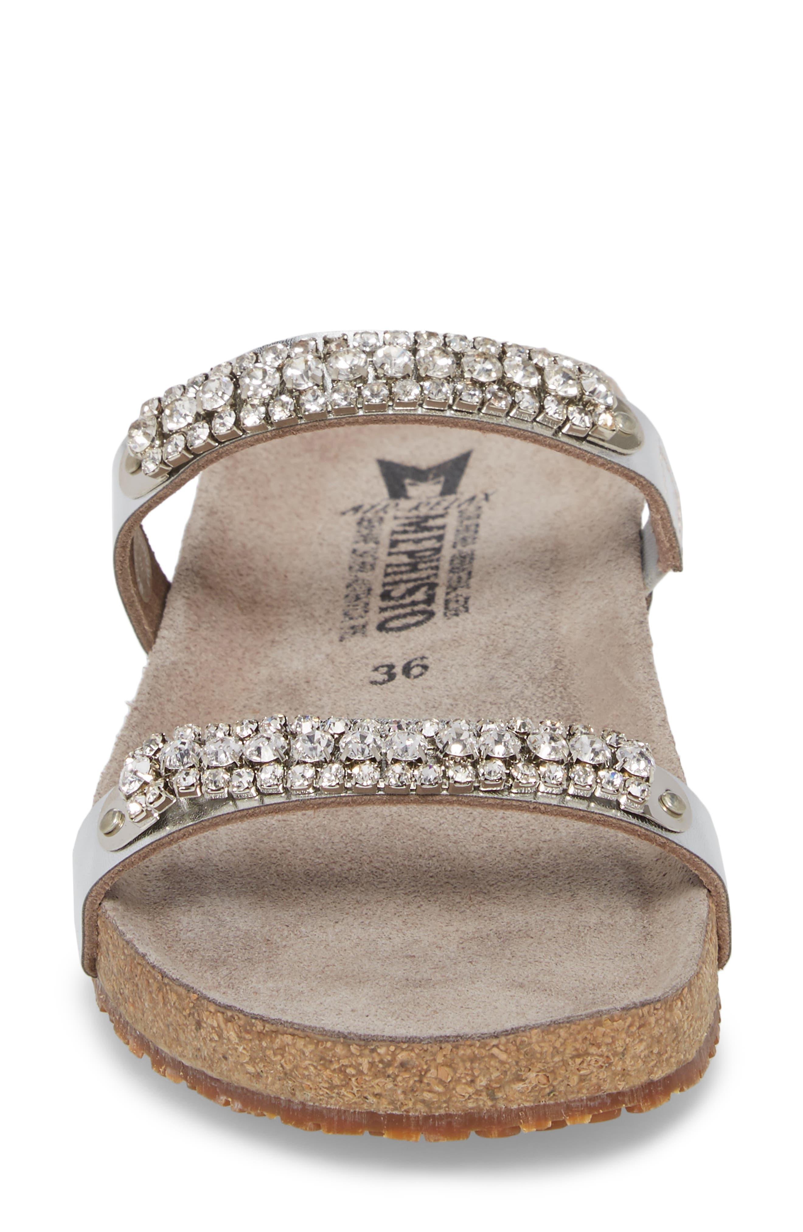 MEPHISTO, 'Ivana' Crystal Embellished Slide Sandal, Alternate thumbnail 4, color, NICKEL LEATHER