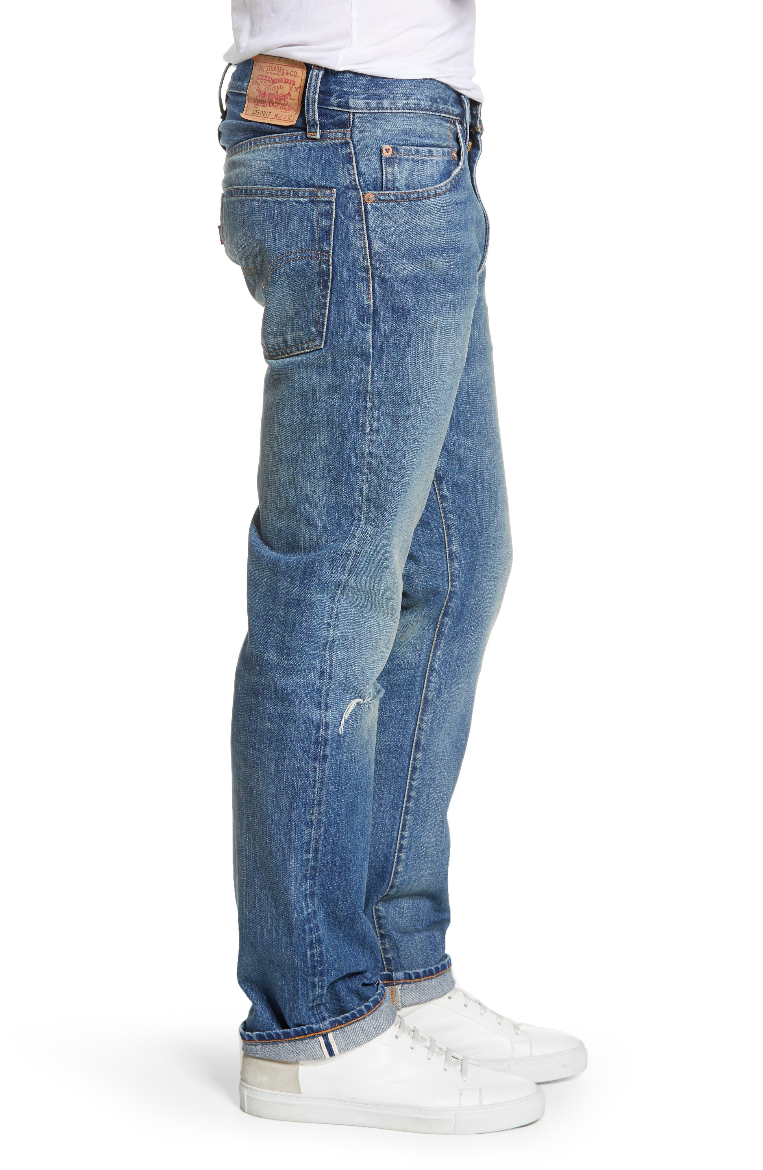 LEVI'S<SUP>®</SUP> VINTAGE CLOTHING, 1967 505<sup>™</sup> Slim Fit Selvedge Jeans, Alternate thumbnail 4, color, SPUTNIK