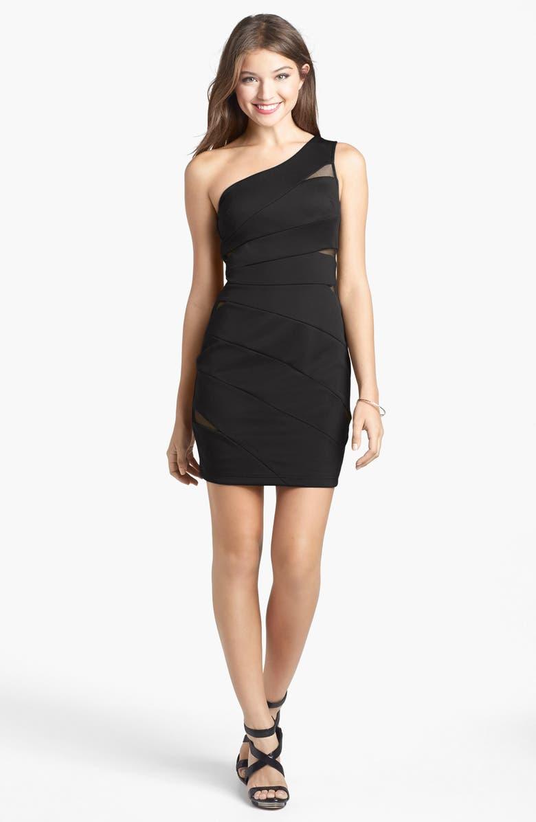 9f1cec4d009 Hailey Logan Mesh Inset One-Shoulder Body-Con Dress (Juniors ...