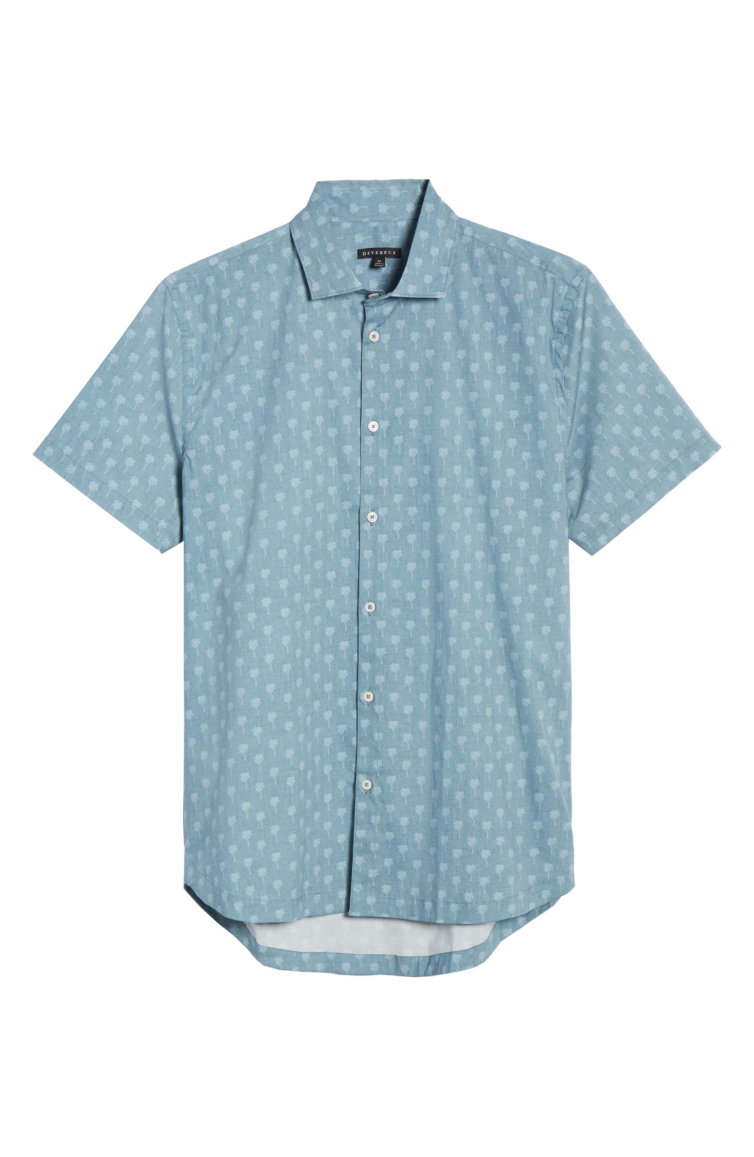 DEVEREUX, Cabana Regular Fit Sport Shirt, Alternate thumbnail 5, color, PALMS