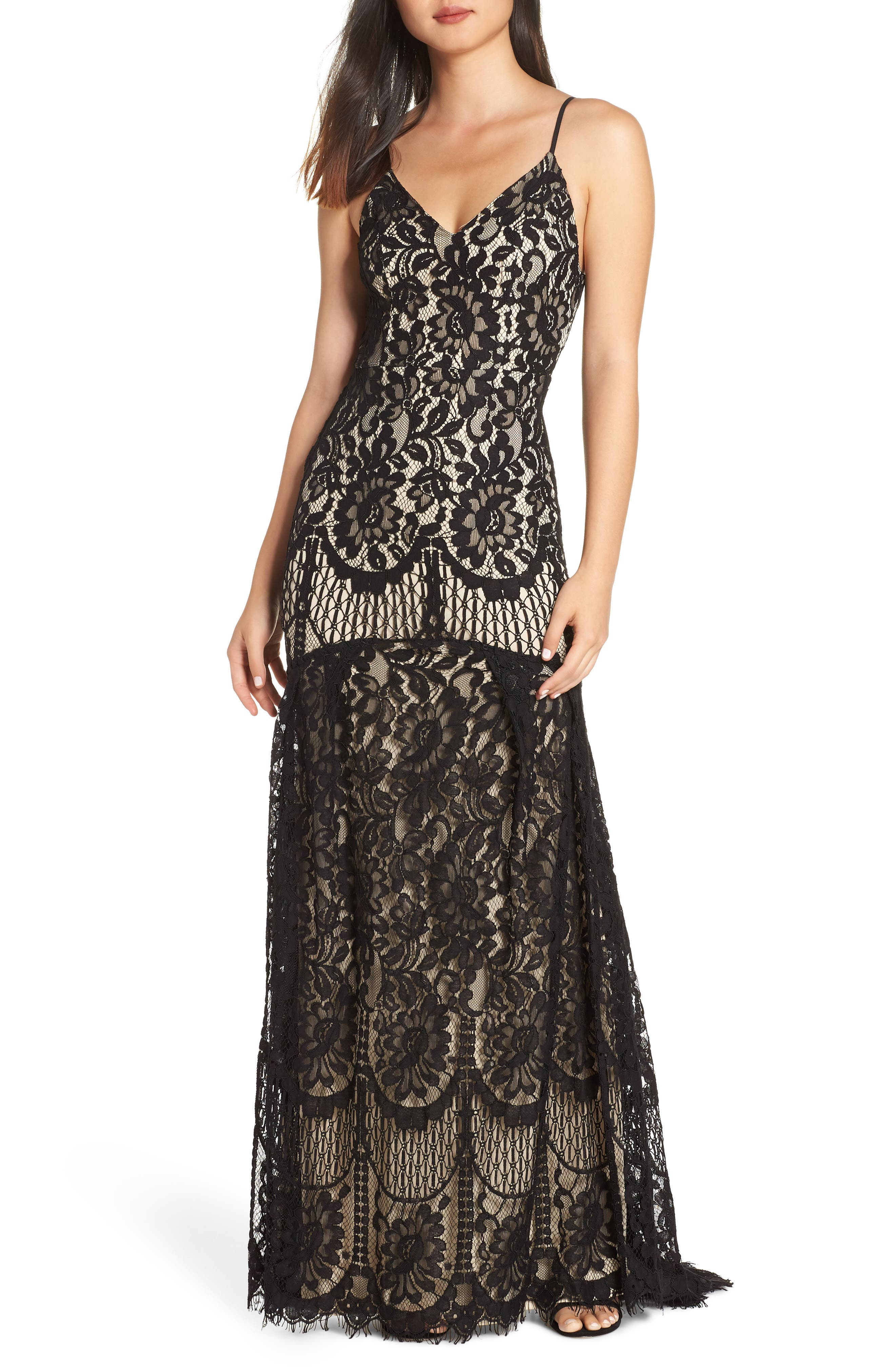 LULUS Flynn Lace Gown with Train, Main, color, BLACK/ NUDE