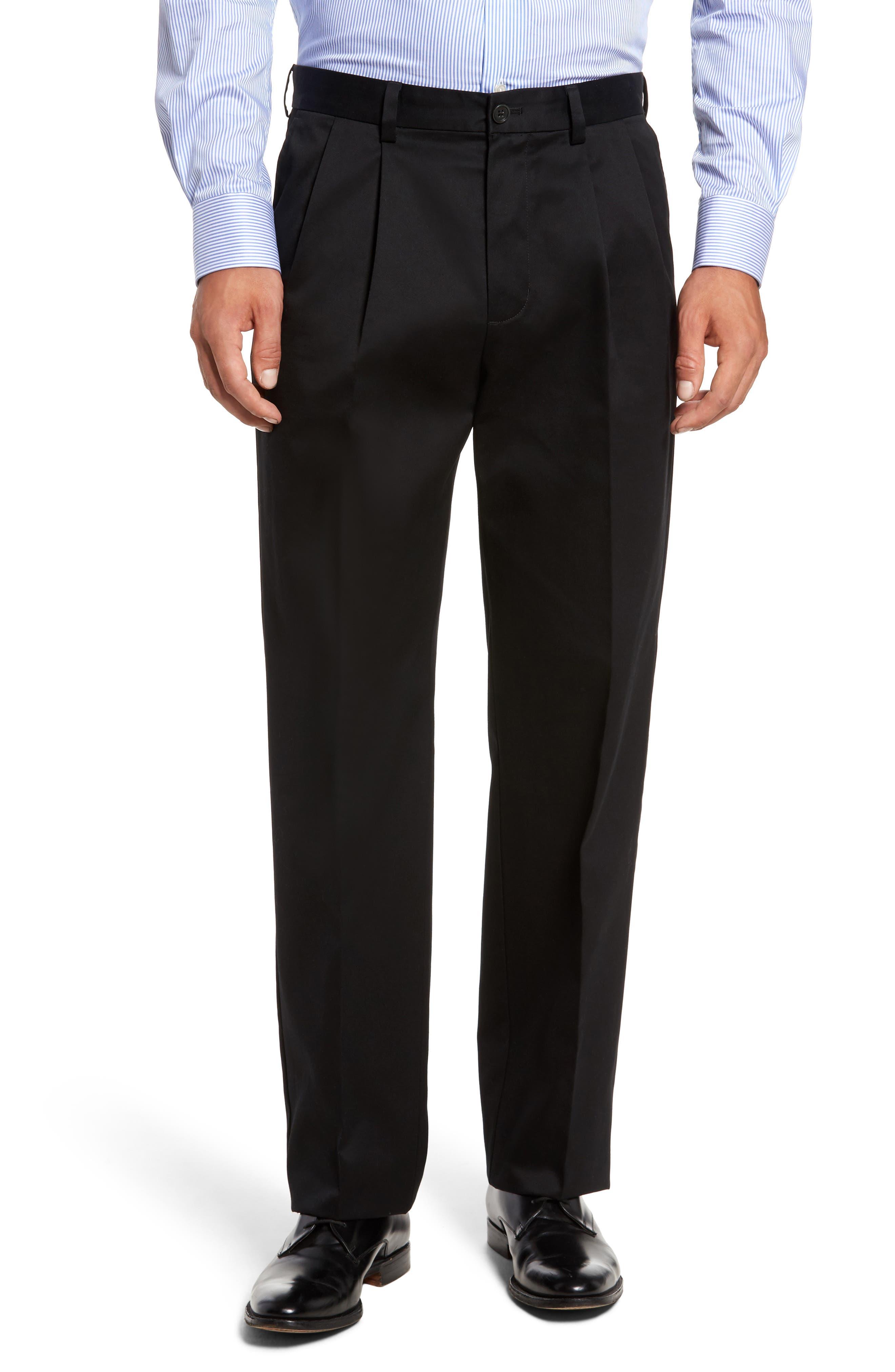 NORDSTROM MEN'S SHOP, 'Classic' Smartcare<sup>™</sup> Relaxed Fit Double Pleated Cotton Pants, Main thumbnail 1, color, BLACK