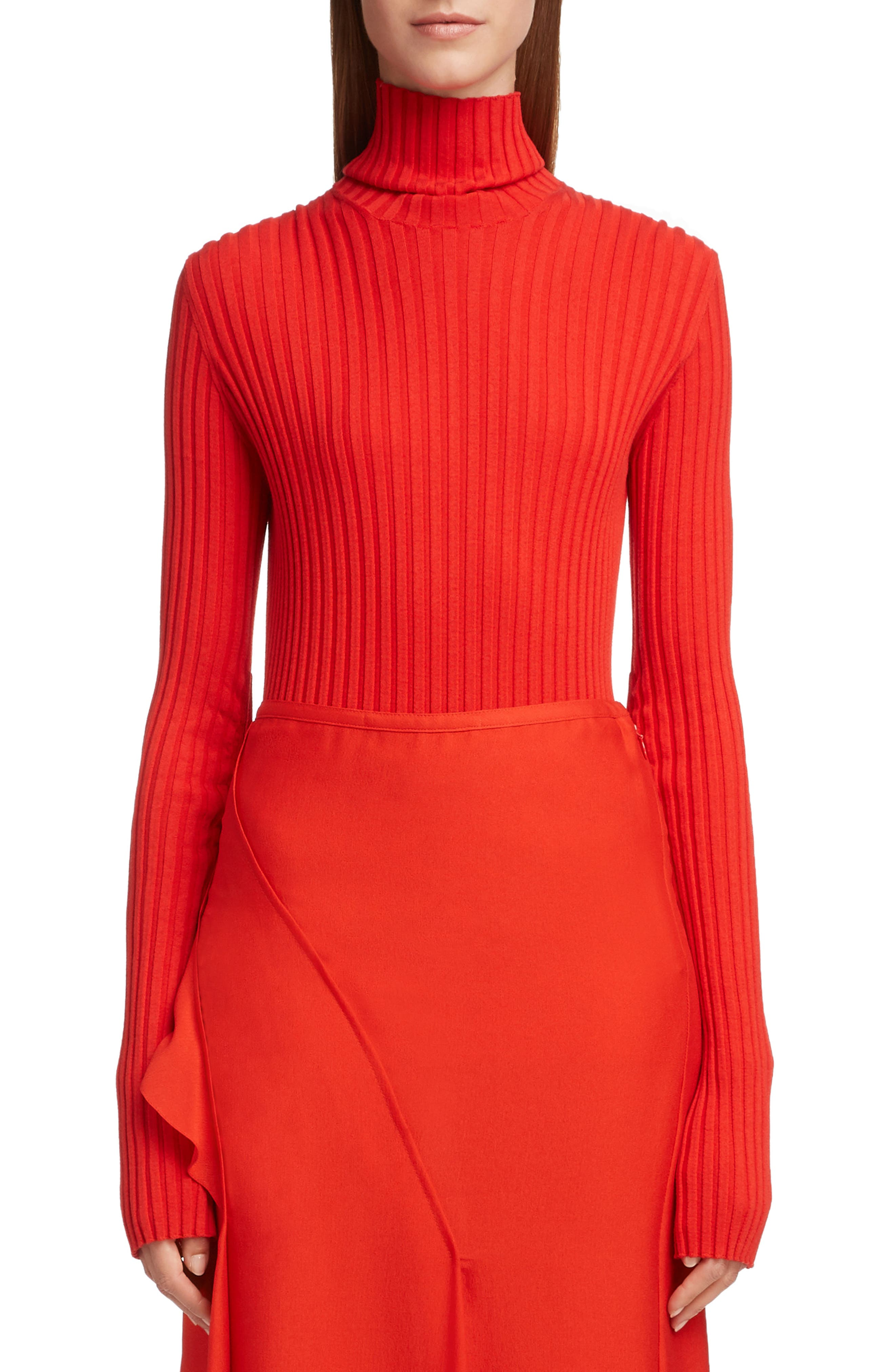 VICTORIA BECKHAM, Gathered Sleeve Rib Knit Turtleneck Sweater, Main thumbnail 1, color, BRIGHT RED