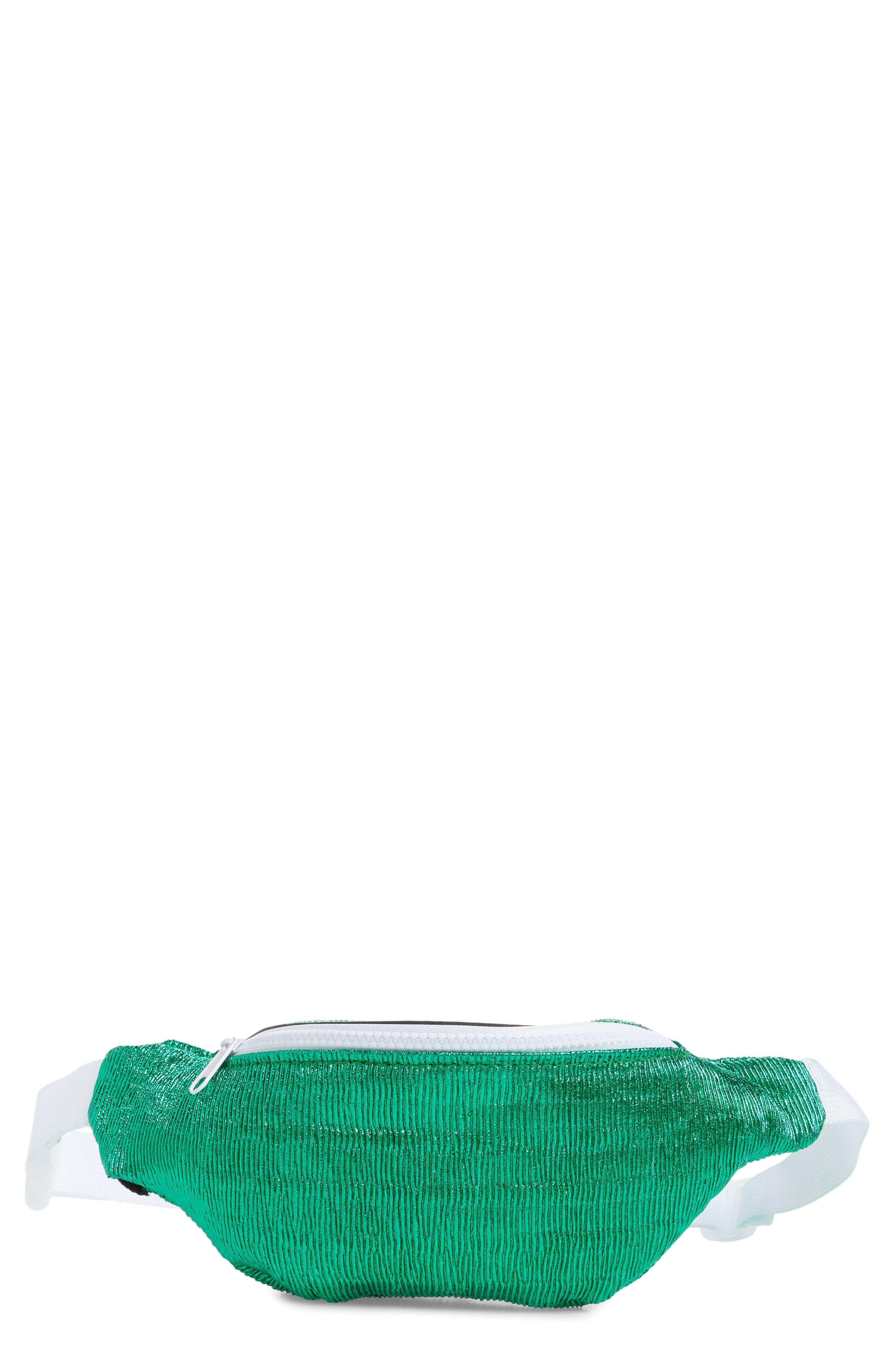 JANE & BERRY Crinkle Metallic Belt Bag, Main, color, TURQUOISE