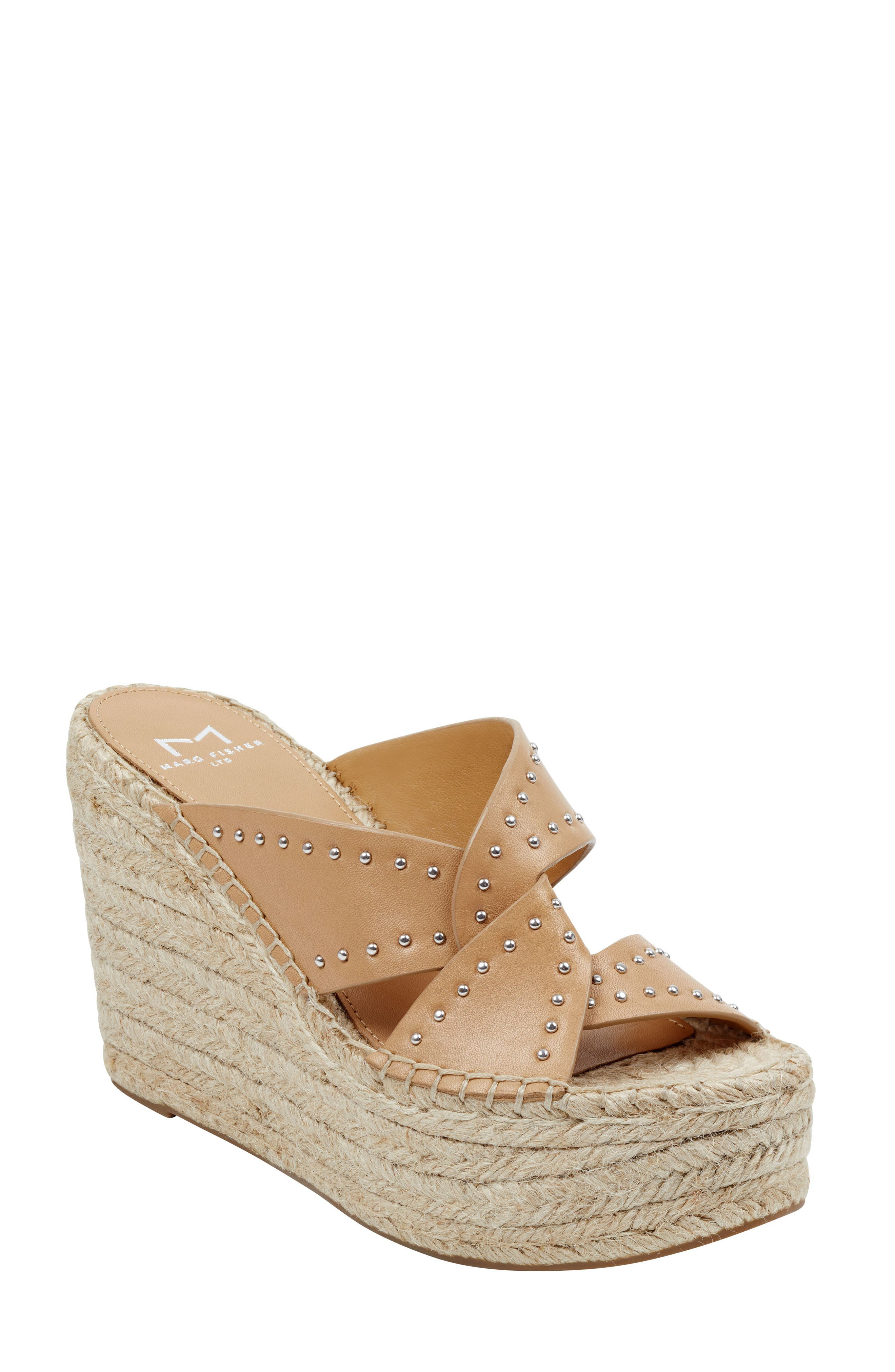 MARC FISHER LTD, Angelina Espadrille Wedge, Main thumbnail 1, color, TAN LEATHER