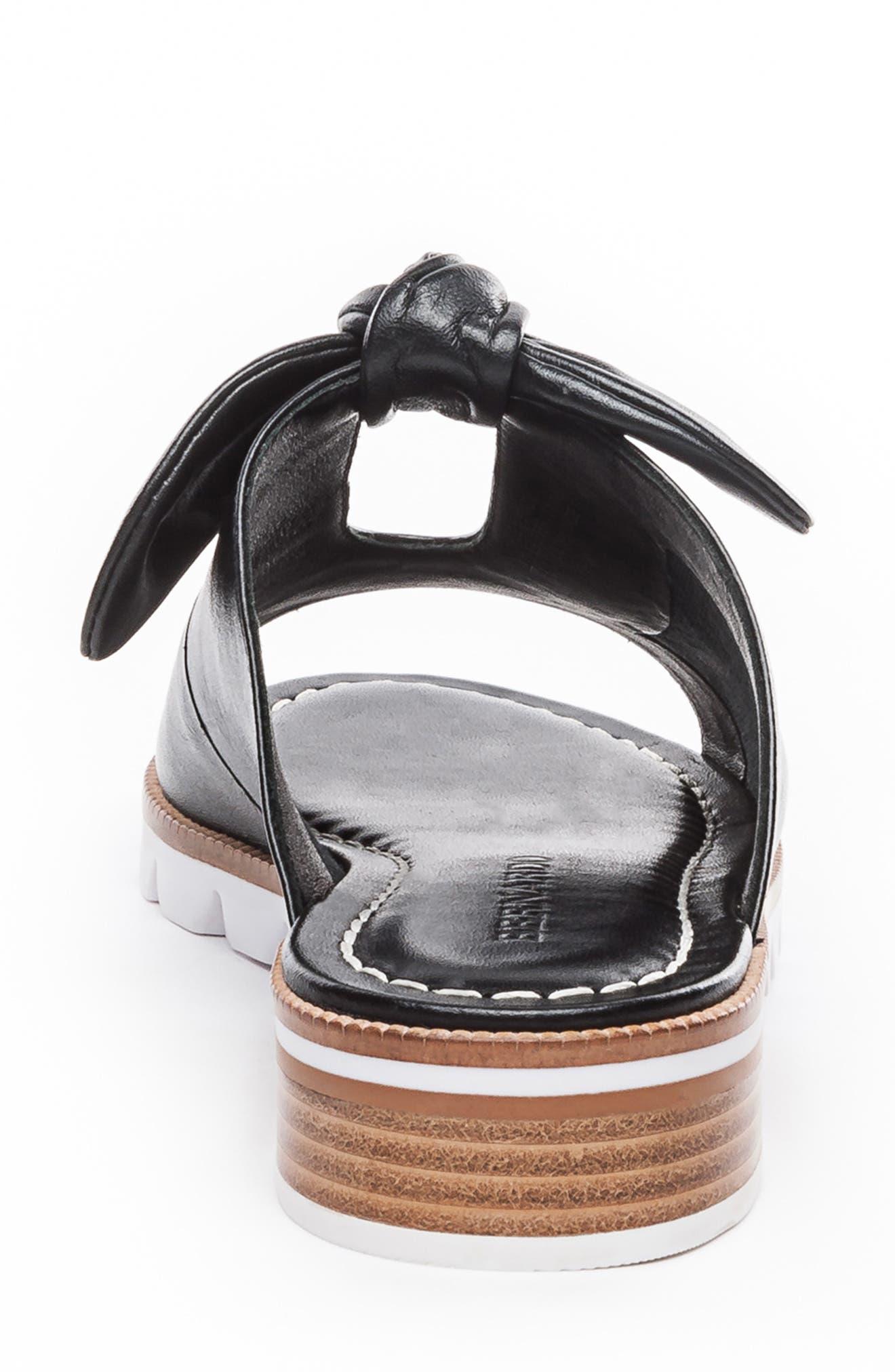 BERNARDO, Alice Bow Slide Sandal, Alternate thumbnail 7, color, BLACK LEATHER