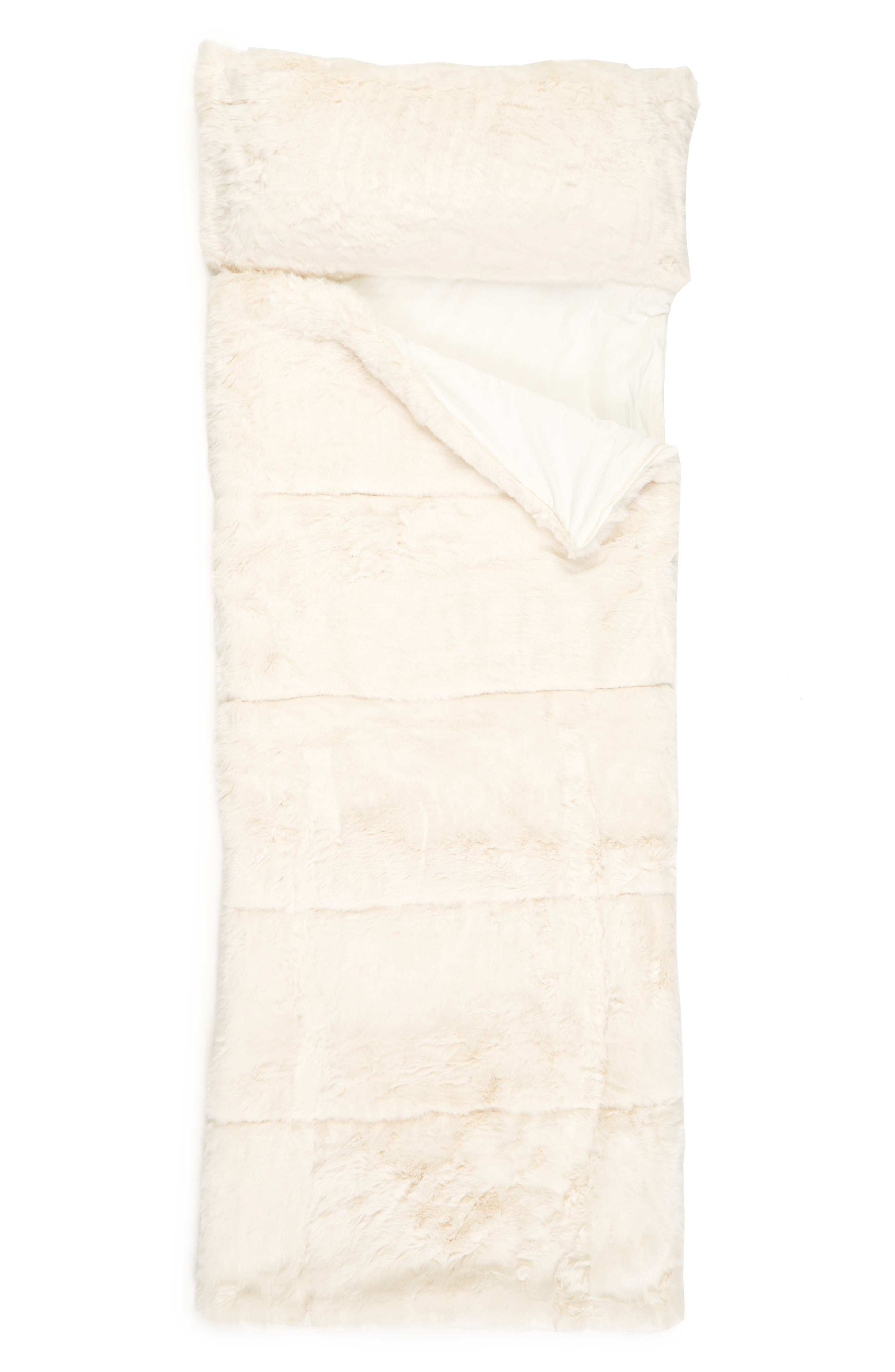 NORDSTROM AT HOME, Cuddle Up Faux Fur Sleeping Bag, Main thumbnail 1, color, IVORY