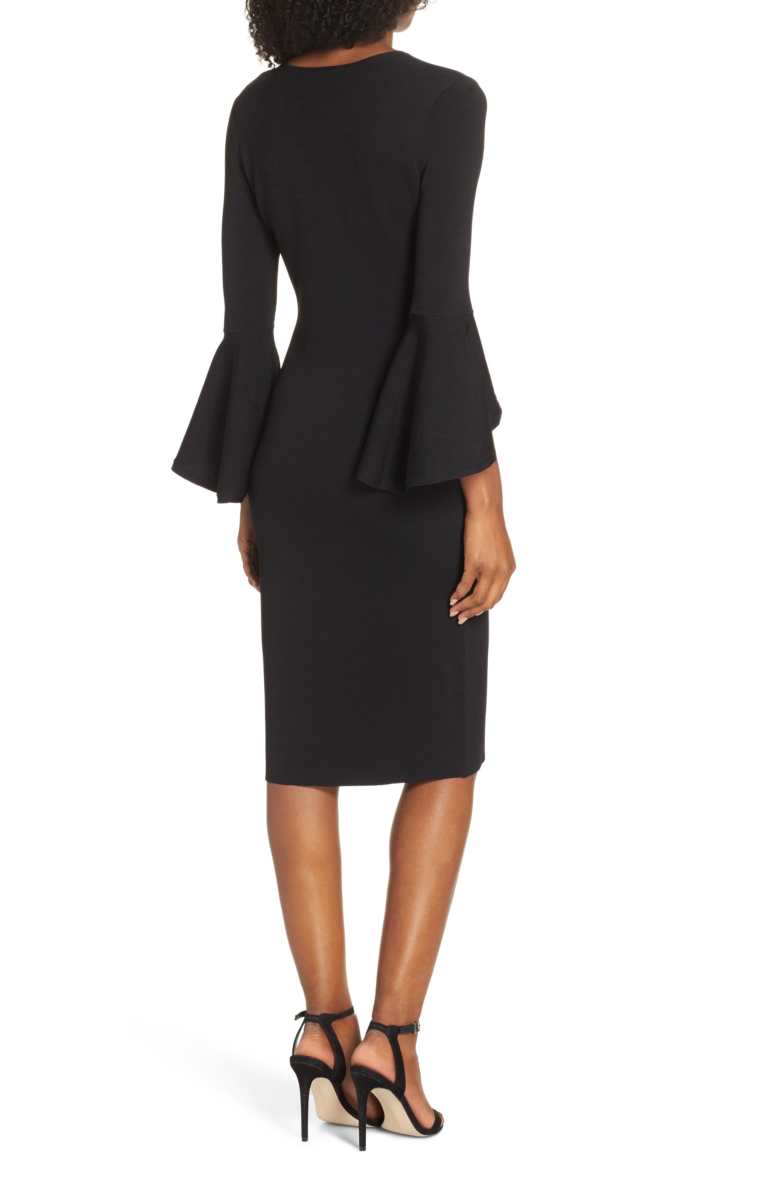 ELIZA J, Bell Sleeve Sheath Dress, Alternate thumbnail 2, color, BLACK