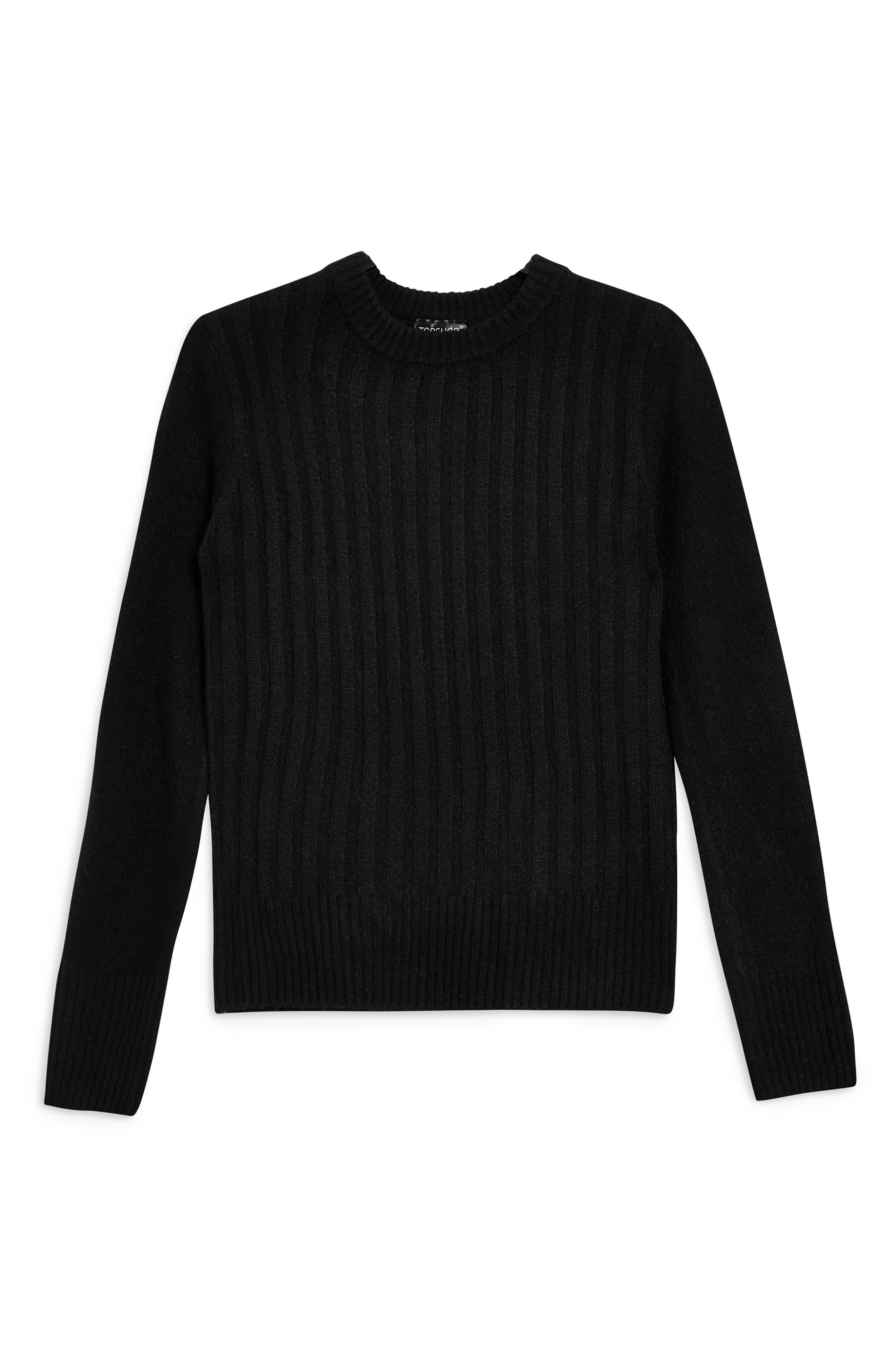 TOPSHOP, Rib Sweater, Alternate thumbnail 3, color, BLACK