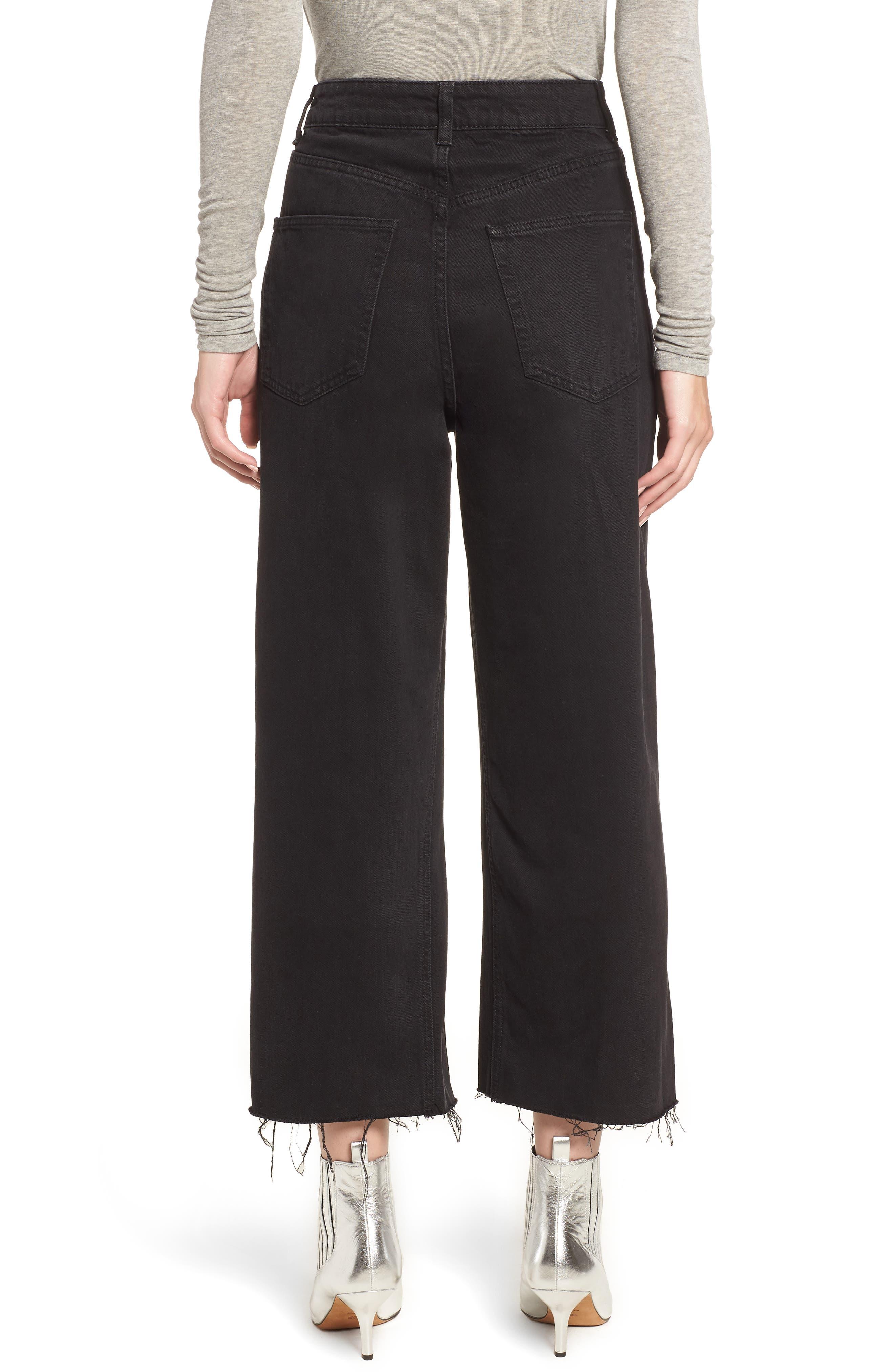 TOPSHOP, Wide Leg Crop Jeans, Alternate thumbnail 2, color, WASHED BLACK