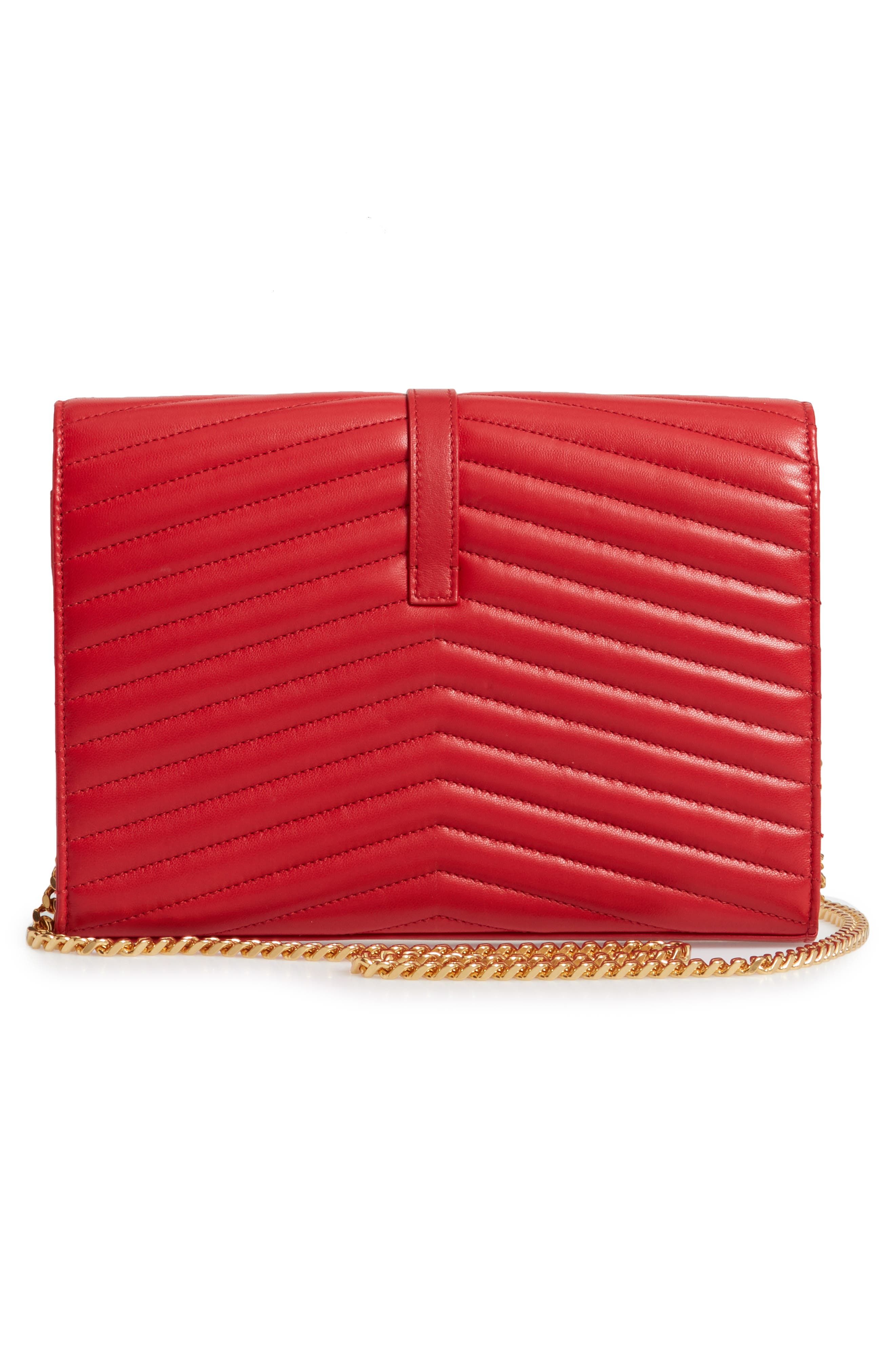 SAINT LAURENT, Sulpice Leather Crossbody Wallet, Alternate thumbnail 3, color, BANDANA RED