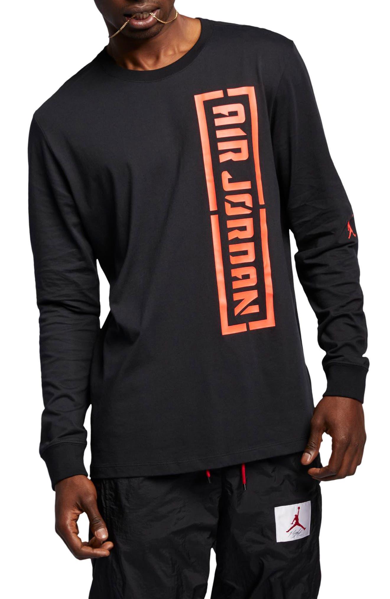 JORDAN, JSW Long Sleeve T-Shirt, Main thumbnail 1, color, BLACK/ INFRARED 23